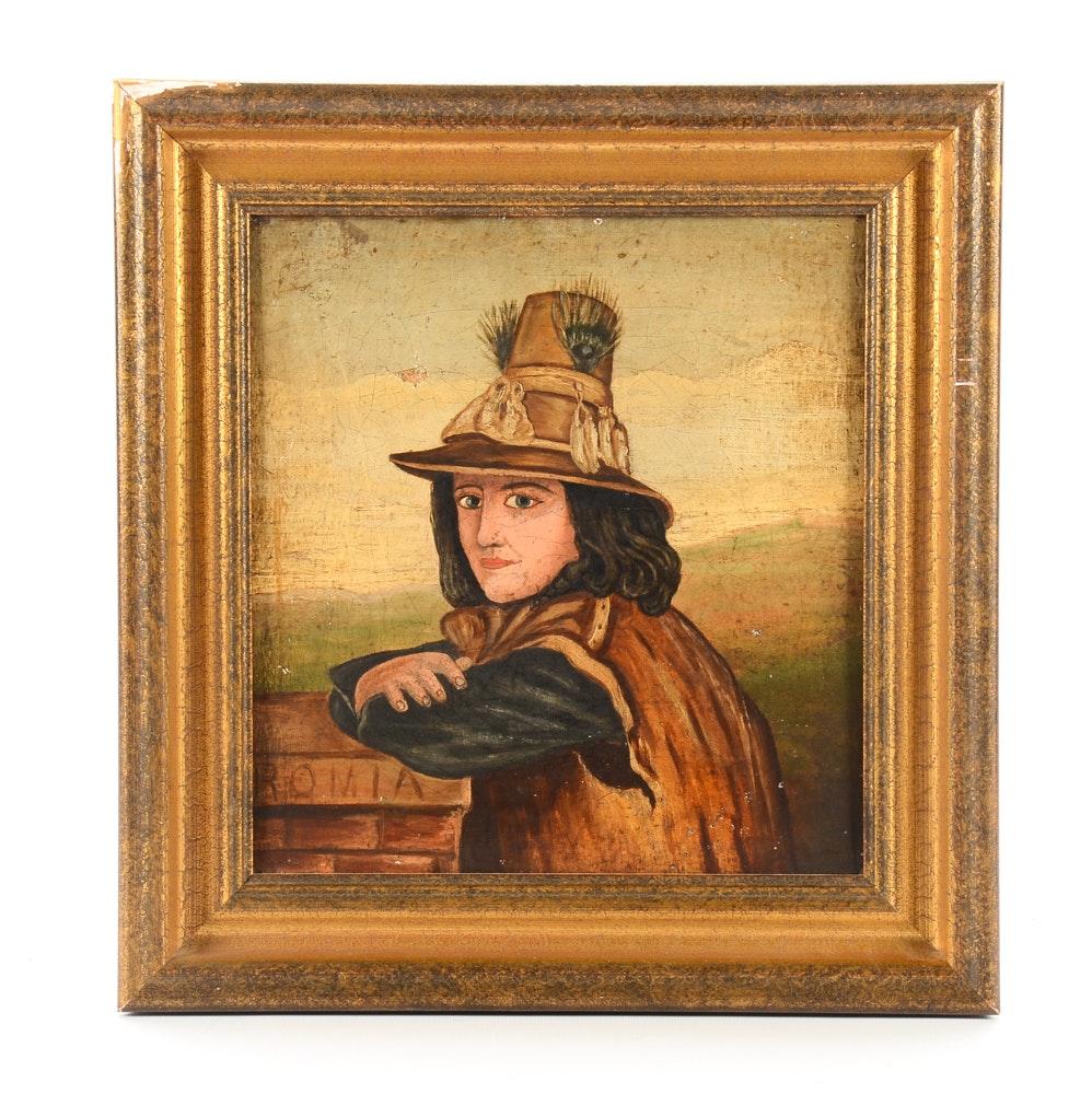 Vintage Folk Art Style Portrait Painting