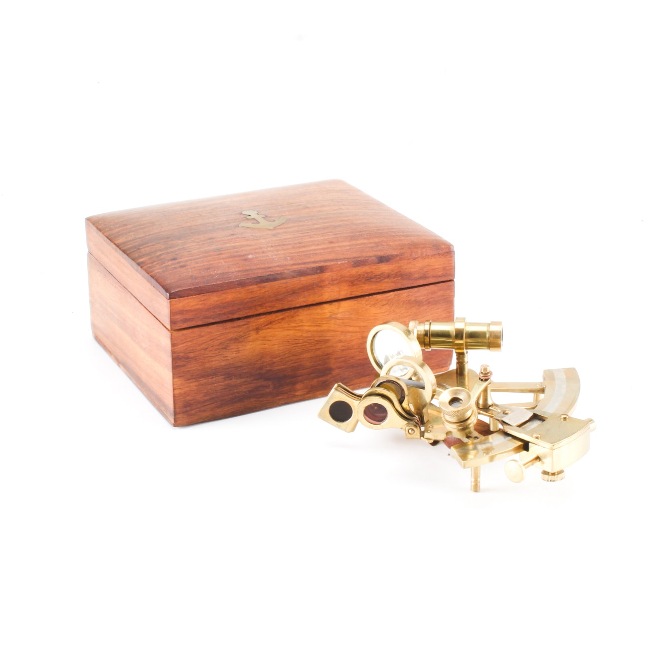 Brass Sextant in Wood Box