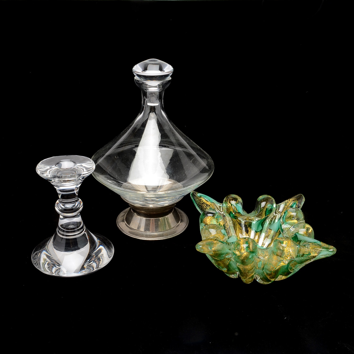 Decorative Glassware Featuring Val St. Lambert Crystal Candlestick Holder