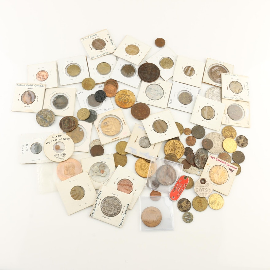 Group of Ninety Vintage Tokens, Medals and Novelty Coins