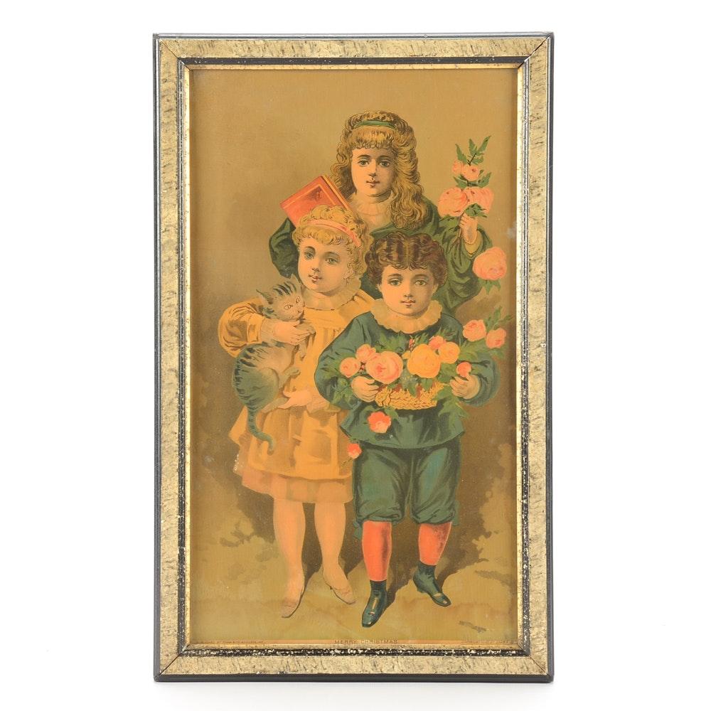 "Vintage Chromolithograph Print ""Merry Christmas"""