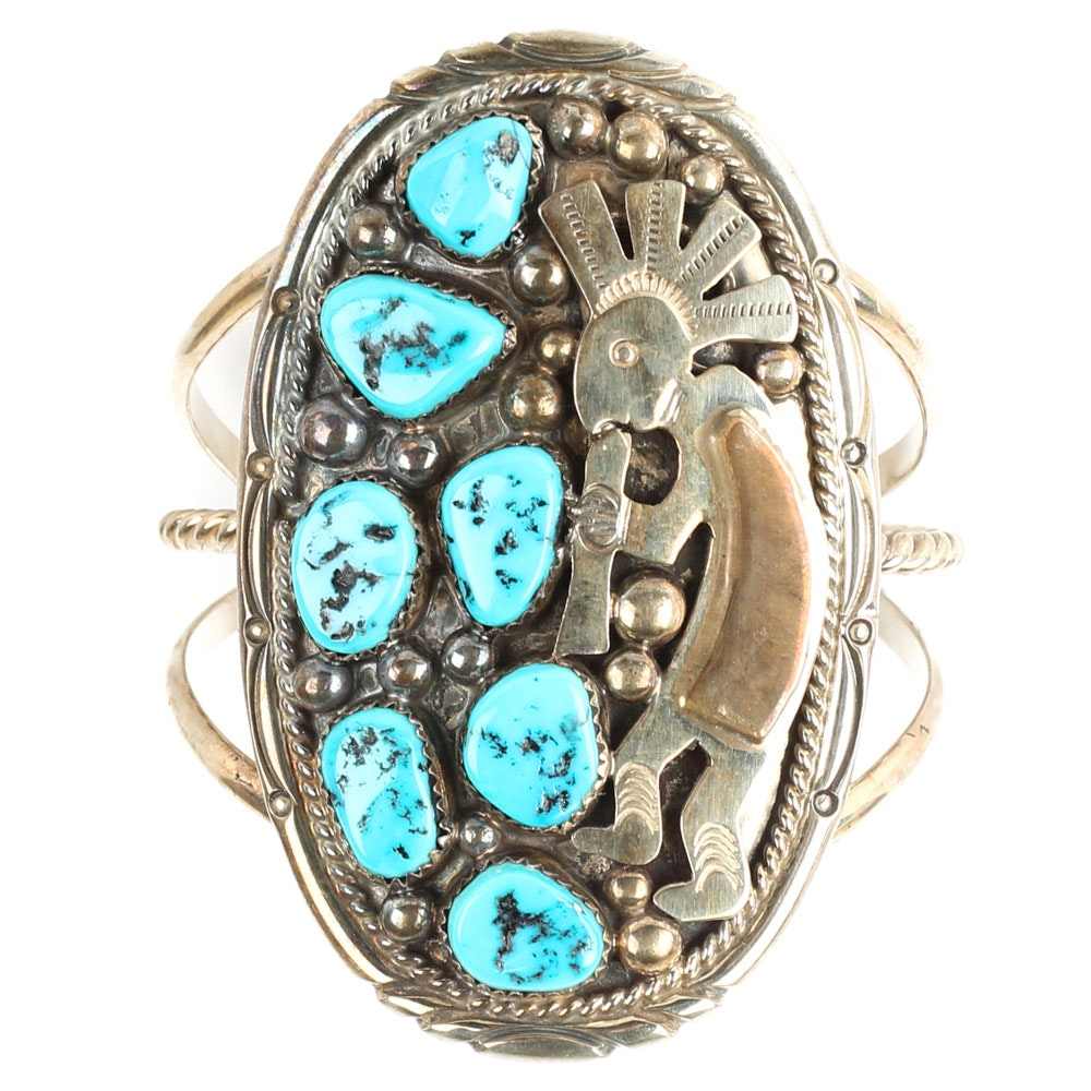 Tommy Moore Sterling Silver and Turquoise Kokopelli Cuff