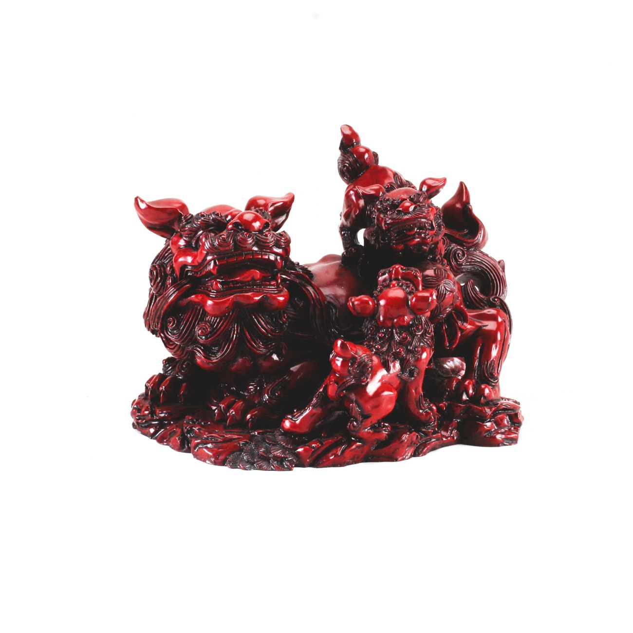 Chinese Guardian Lions Resin Sculpture