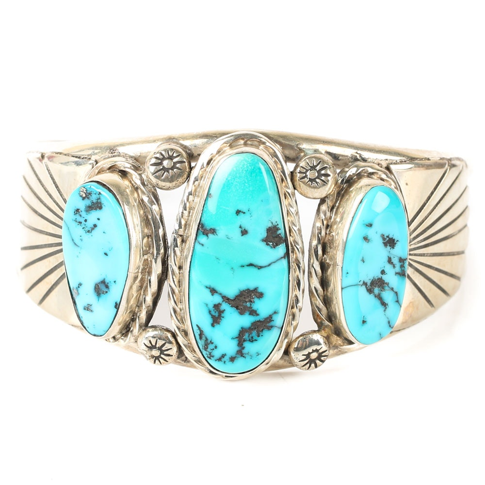 E. Redhorse Sterling Silver and Turquoise Cuff Bracelet