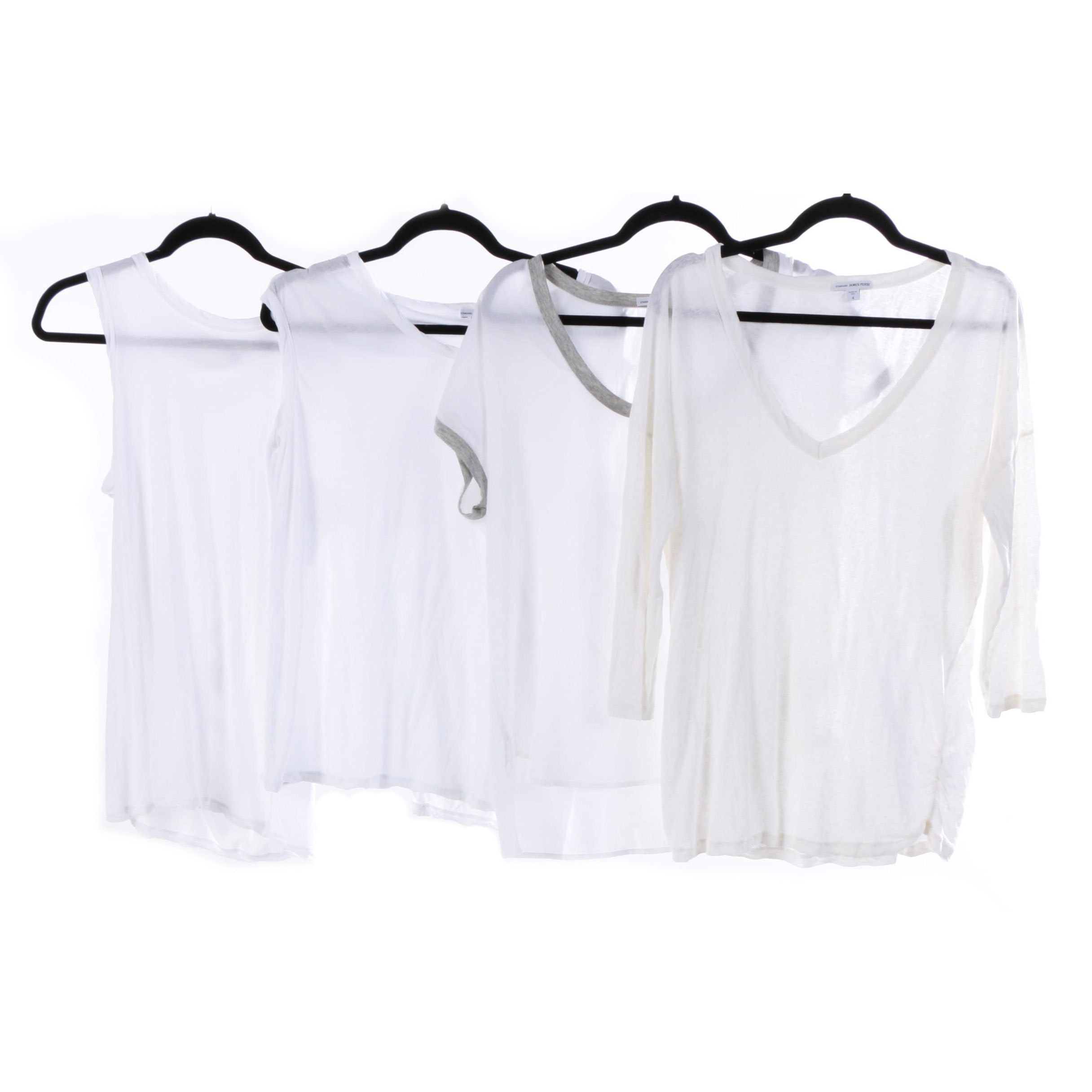 Women's Standard James Perse Off-White T-Shirts and Tank Tops