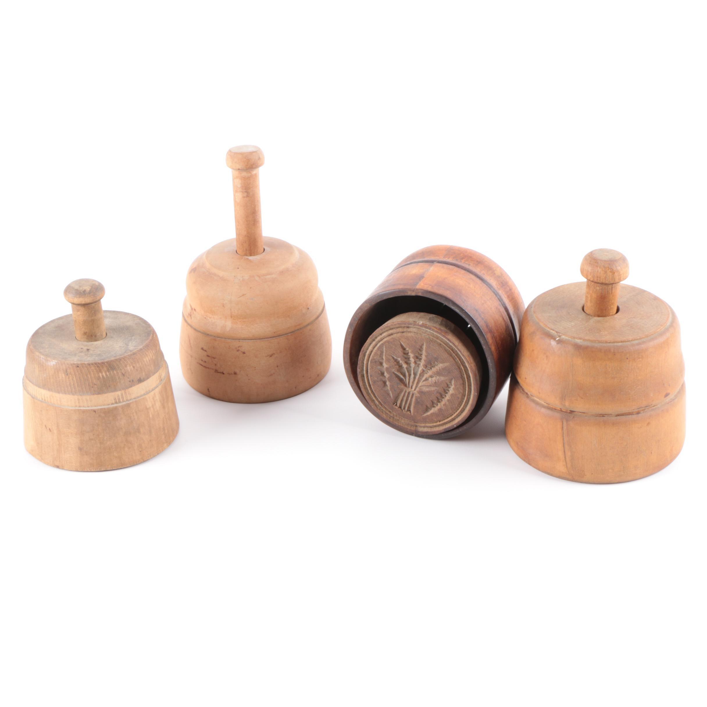Four Antique Wooden Butter Molds