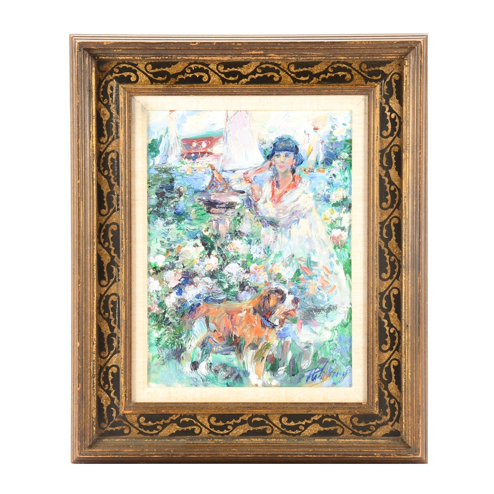 "Paul Williams Original Oil Painting on Canvas ""Jardin du Port"""