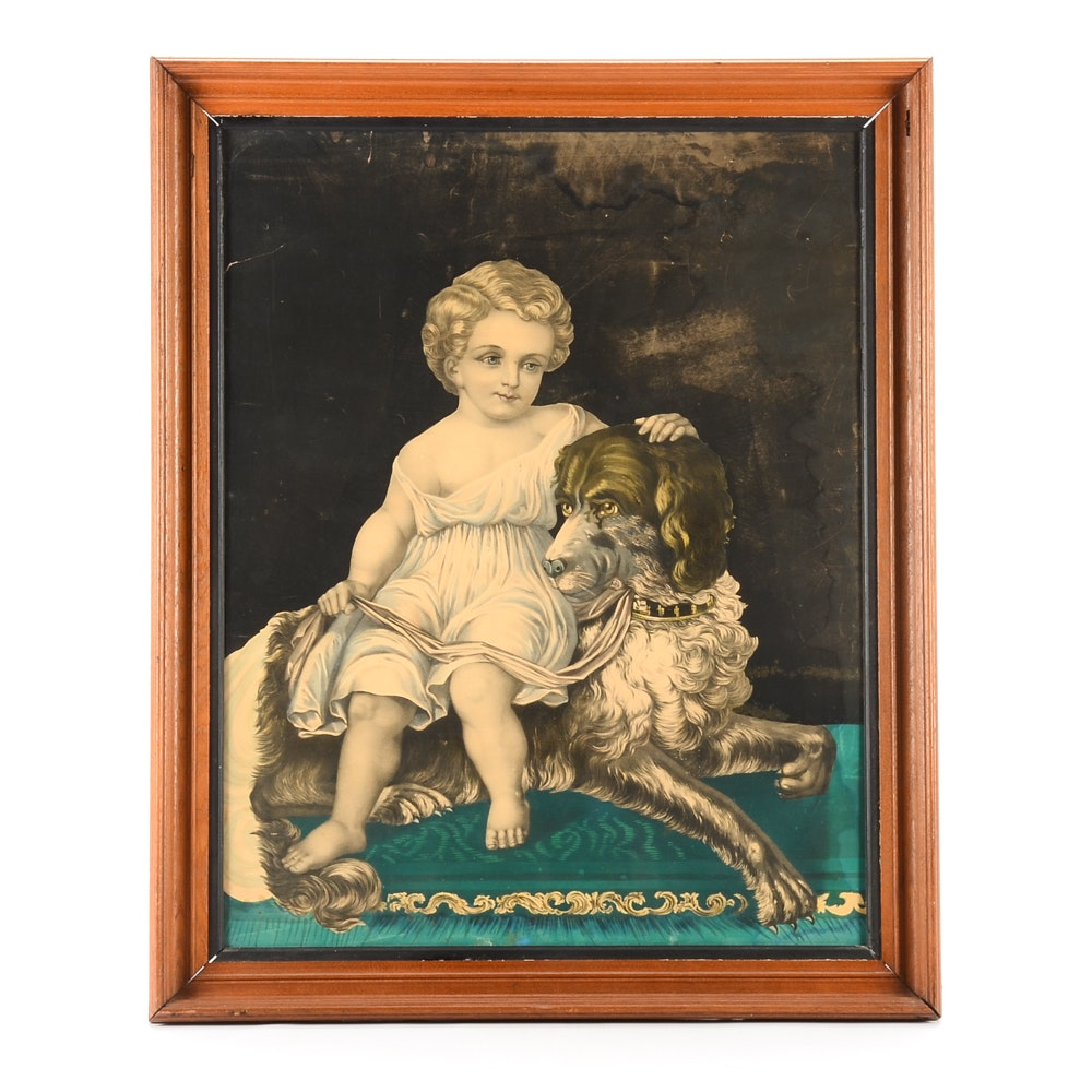 Antique Hand-Colored Lithograph of a Child and Dog