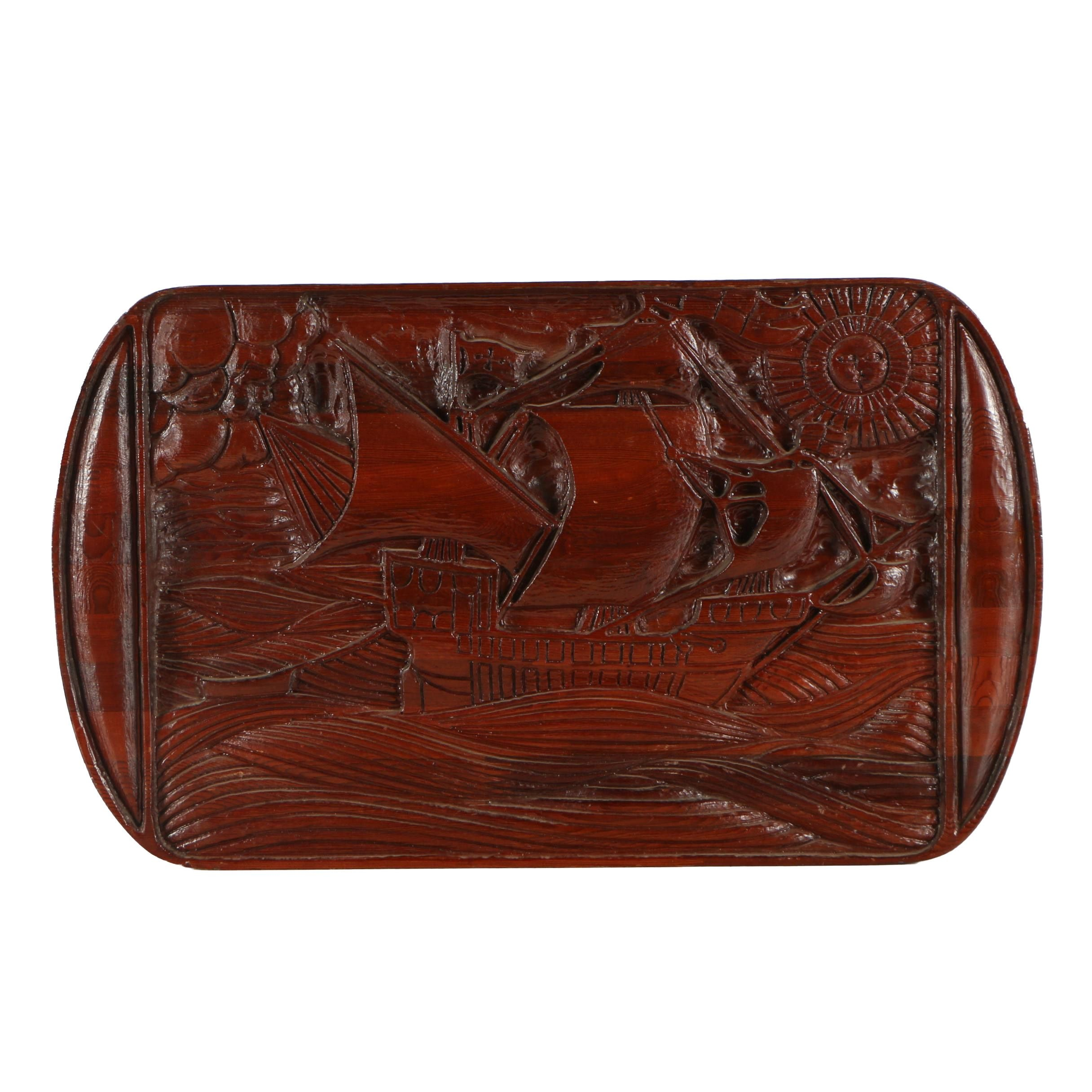 Large Wooden Relief Carving of a Ship at Sea