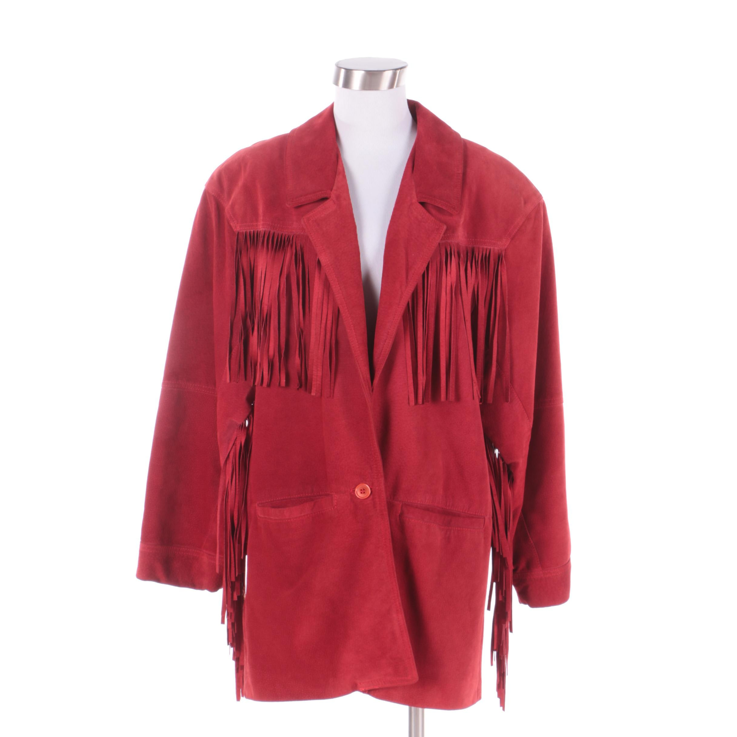 Women's Siena Red Suede Fringed Jacket