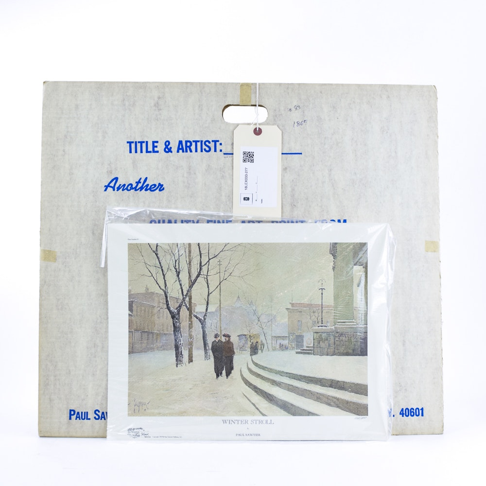 "Offset Lithograph After Paul Sawyier ""Winter Stroll"""