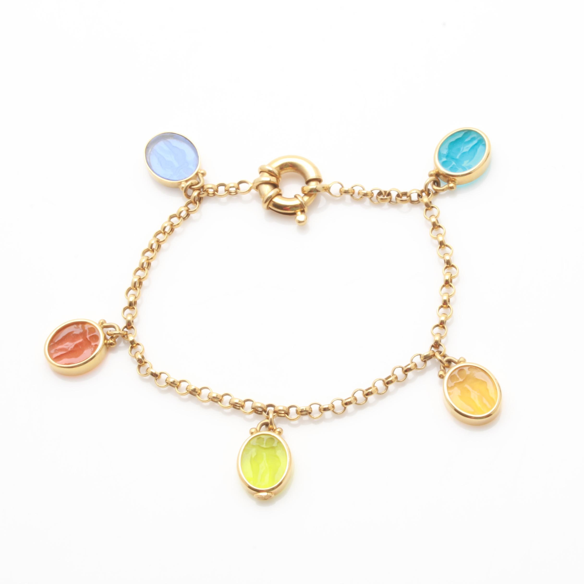 14K Yellow Gold Multi Colored Intaglio Glass Charm Link Bracelet