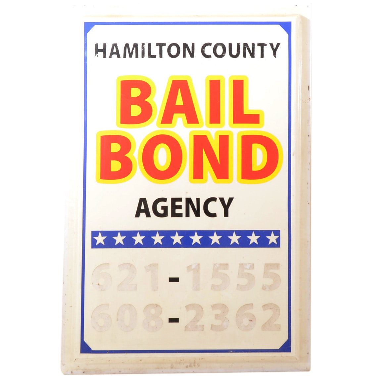 Vintage Hamilton County Bail Bonds Sign