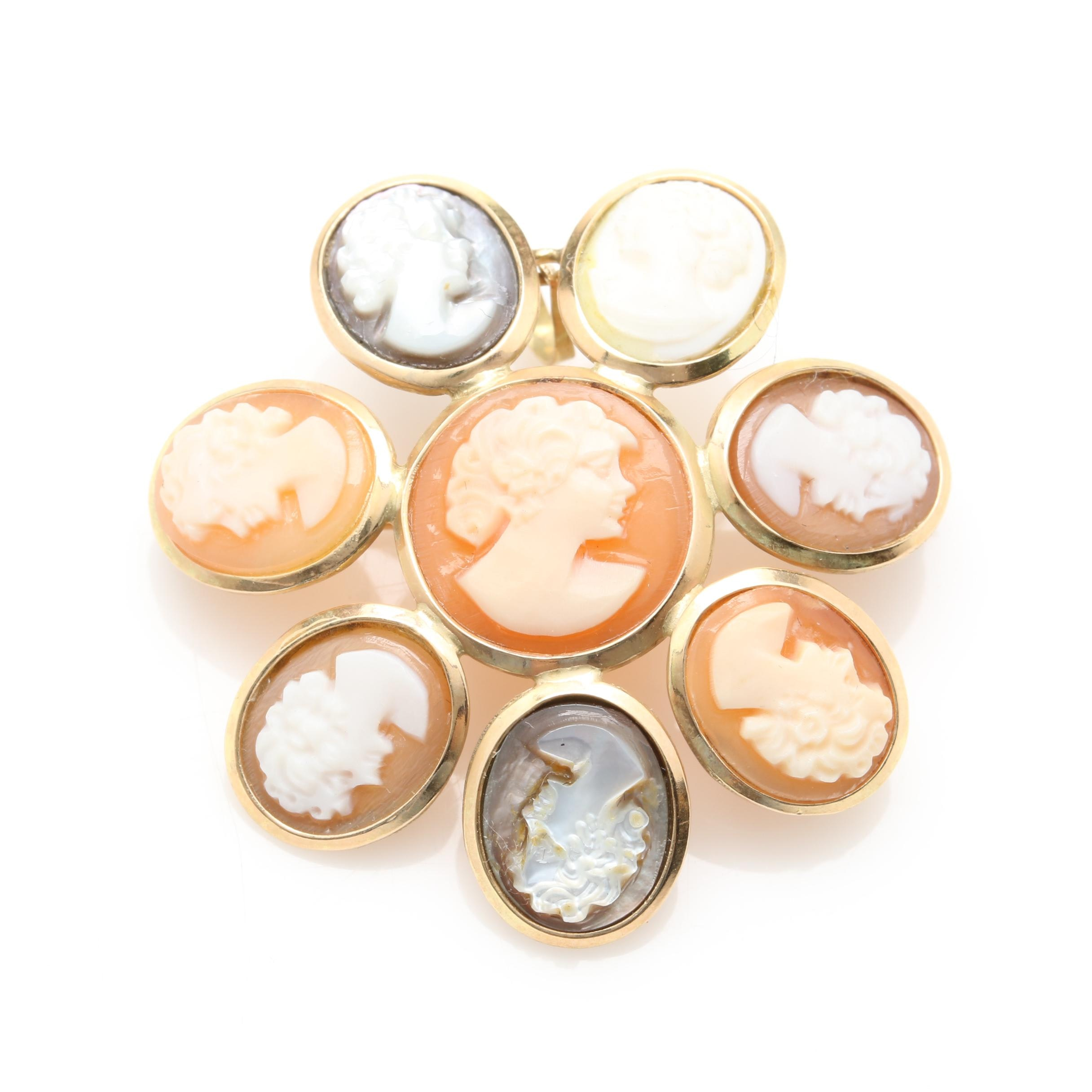 14K Yellow Gold Shell and Mother of Pearl Cameo Converter Brooch