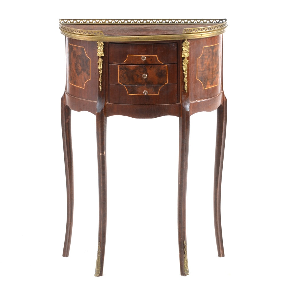 French Louis XV Style Demilune Table