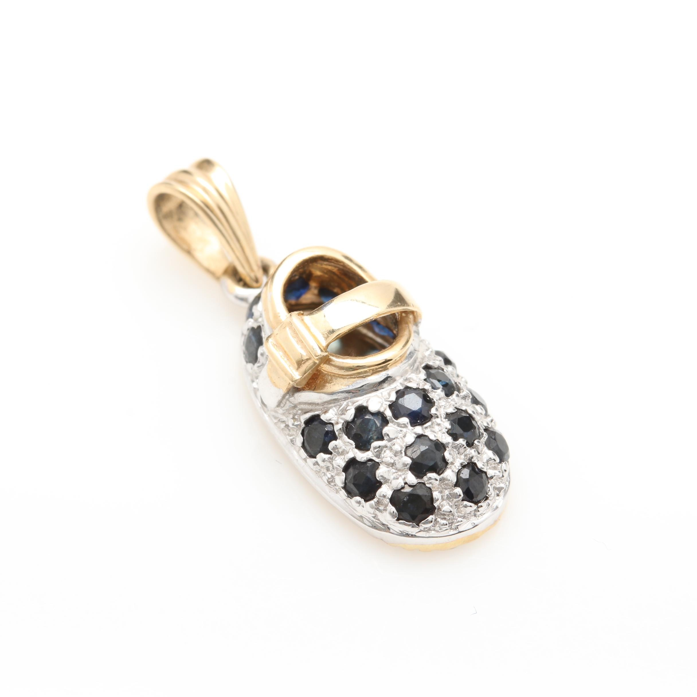 14K Yellow and White Gold Blue Sapphire Shoe Charm Pendant