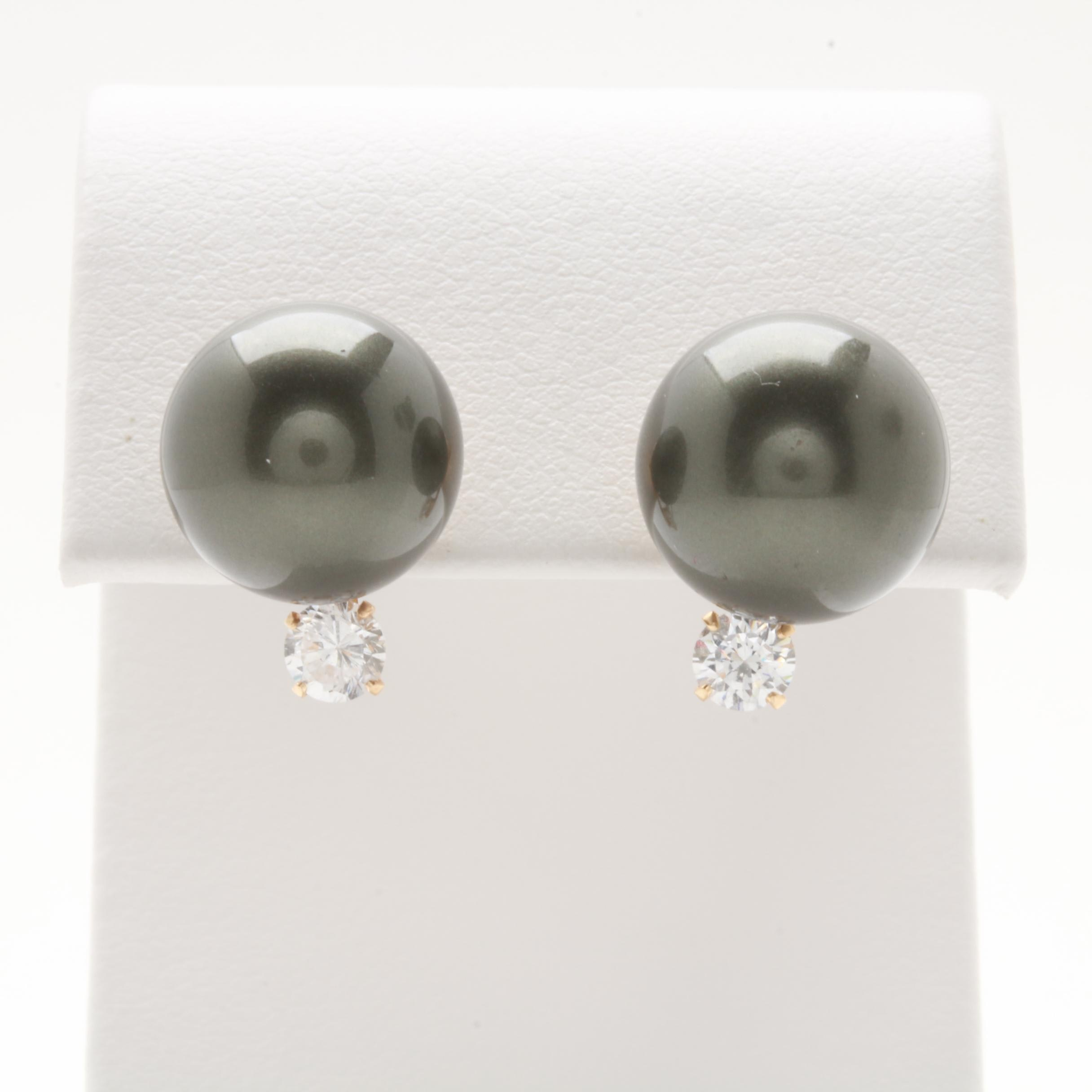 14K Yellow Gold Synthetic Pearl and Cubic Zirconia Earrings
