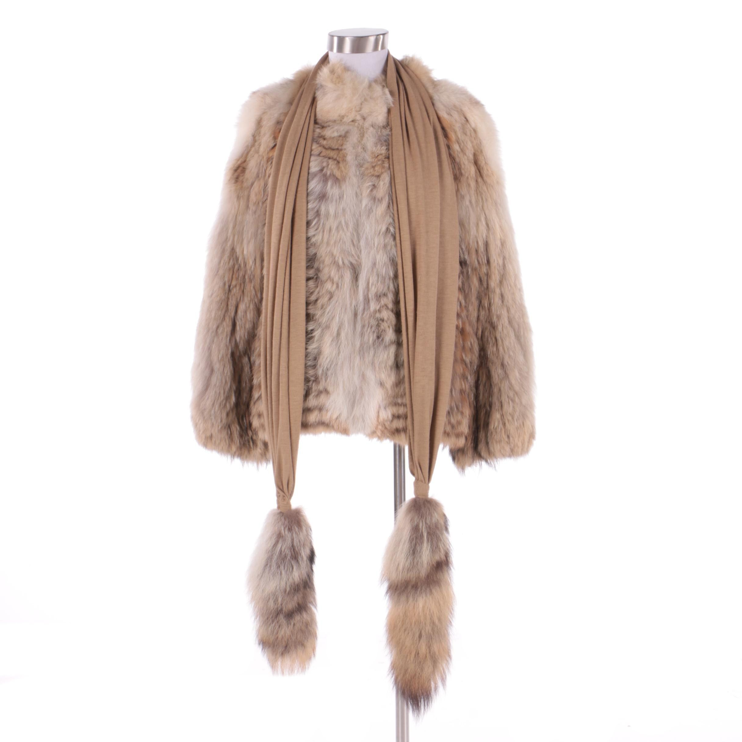 Women's Coyote Fur Jacket and Coyote Tail Fur Scarf
