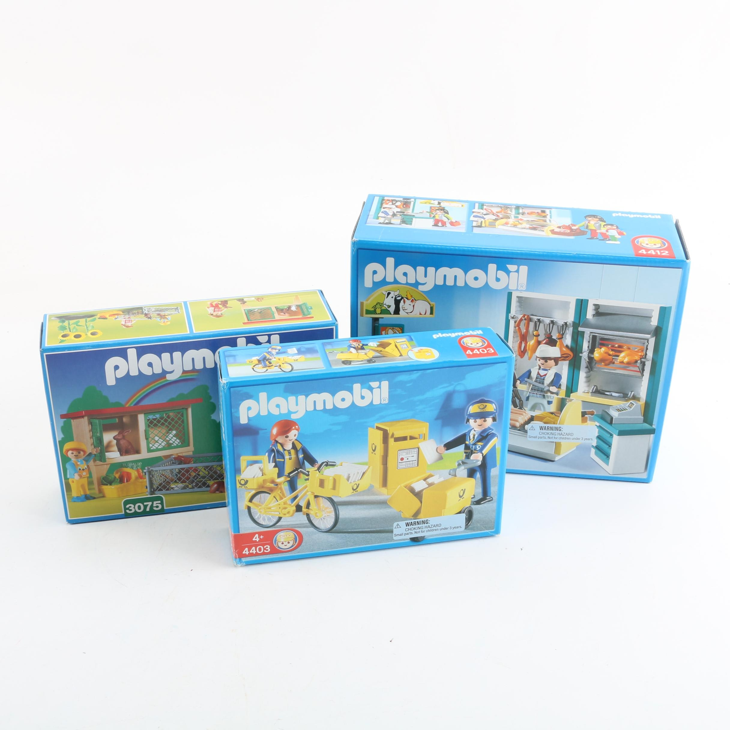 Playmobil Play Sets Including Butcher Shop and Rabbit Hutch