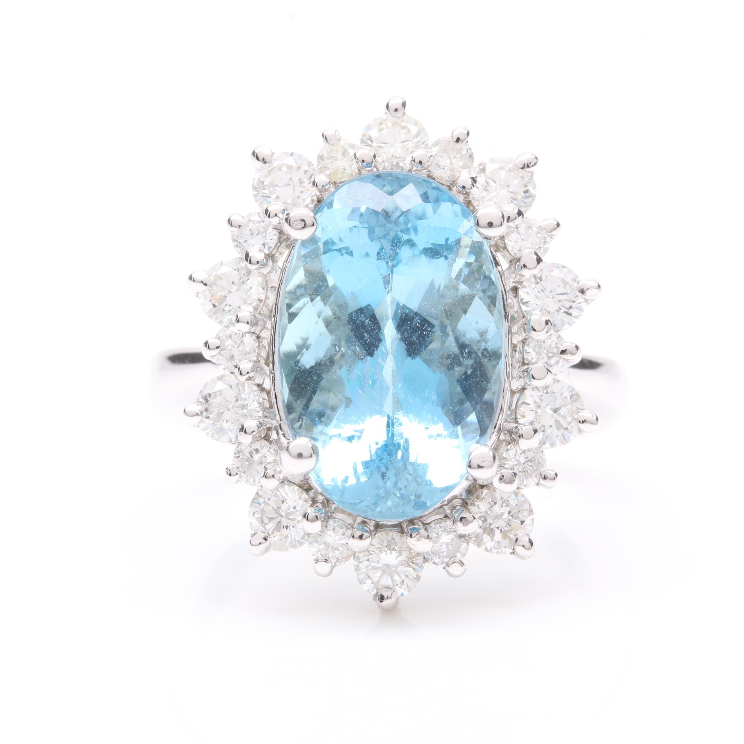 14K White Gold 5.67 CT Aquamarine and 1.20 CTW Diamond Ring