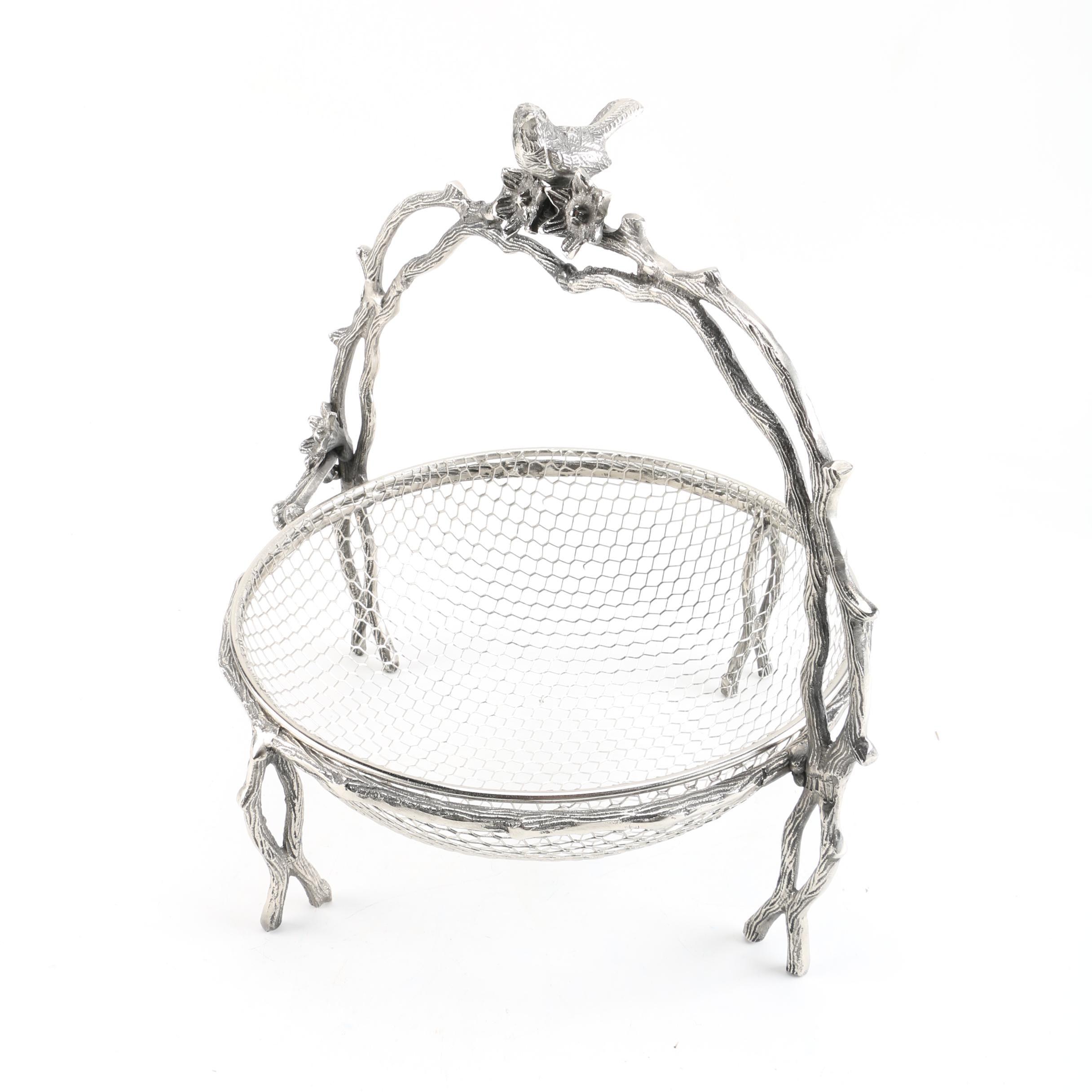 Bird and Twig Motif Metal Basket