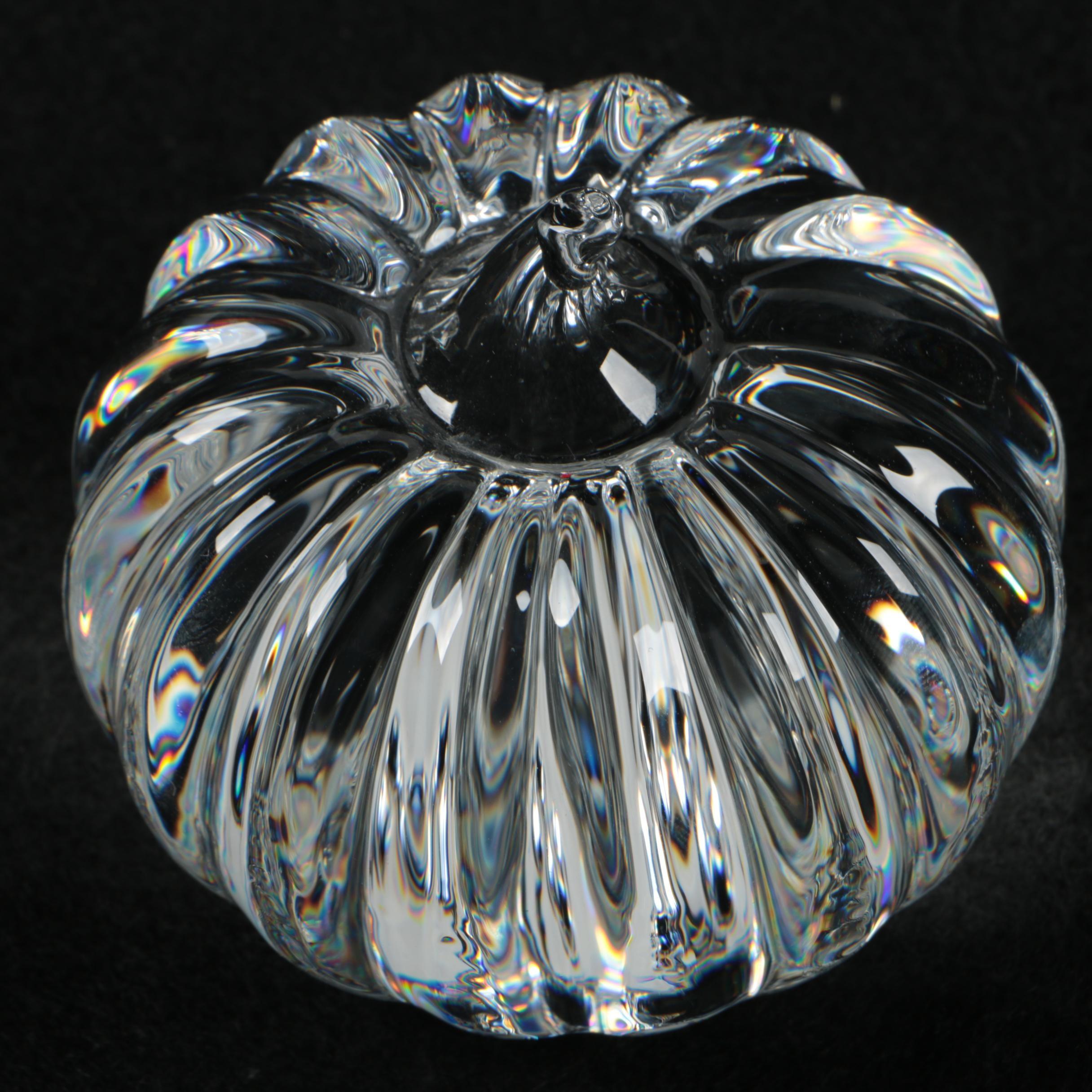 Crystal Glass Pumpkin Paperweight