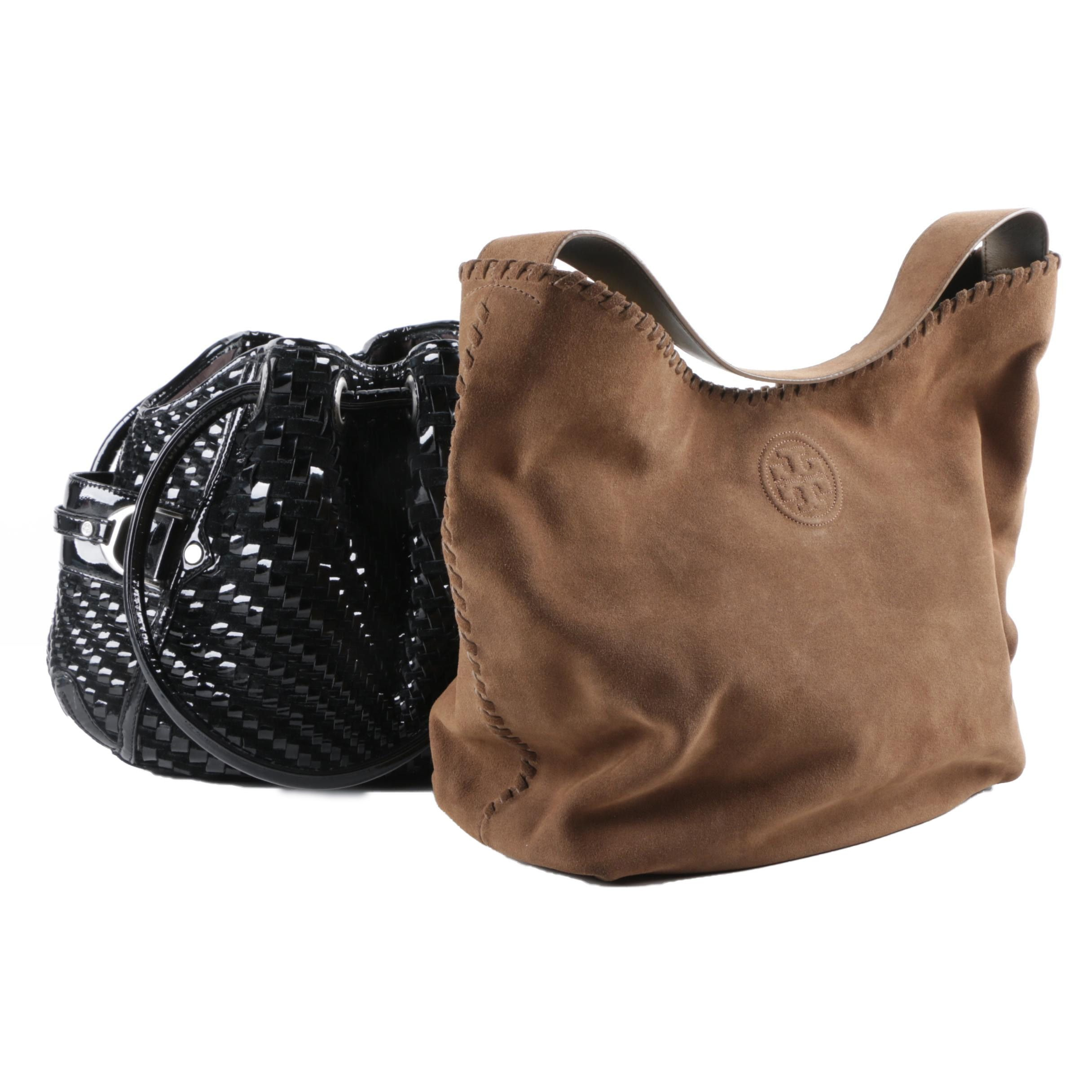 Tory Burch Brown Suede and Cole Haan Black Patent Leather and Suede Hobo Bags