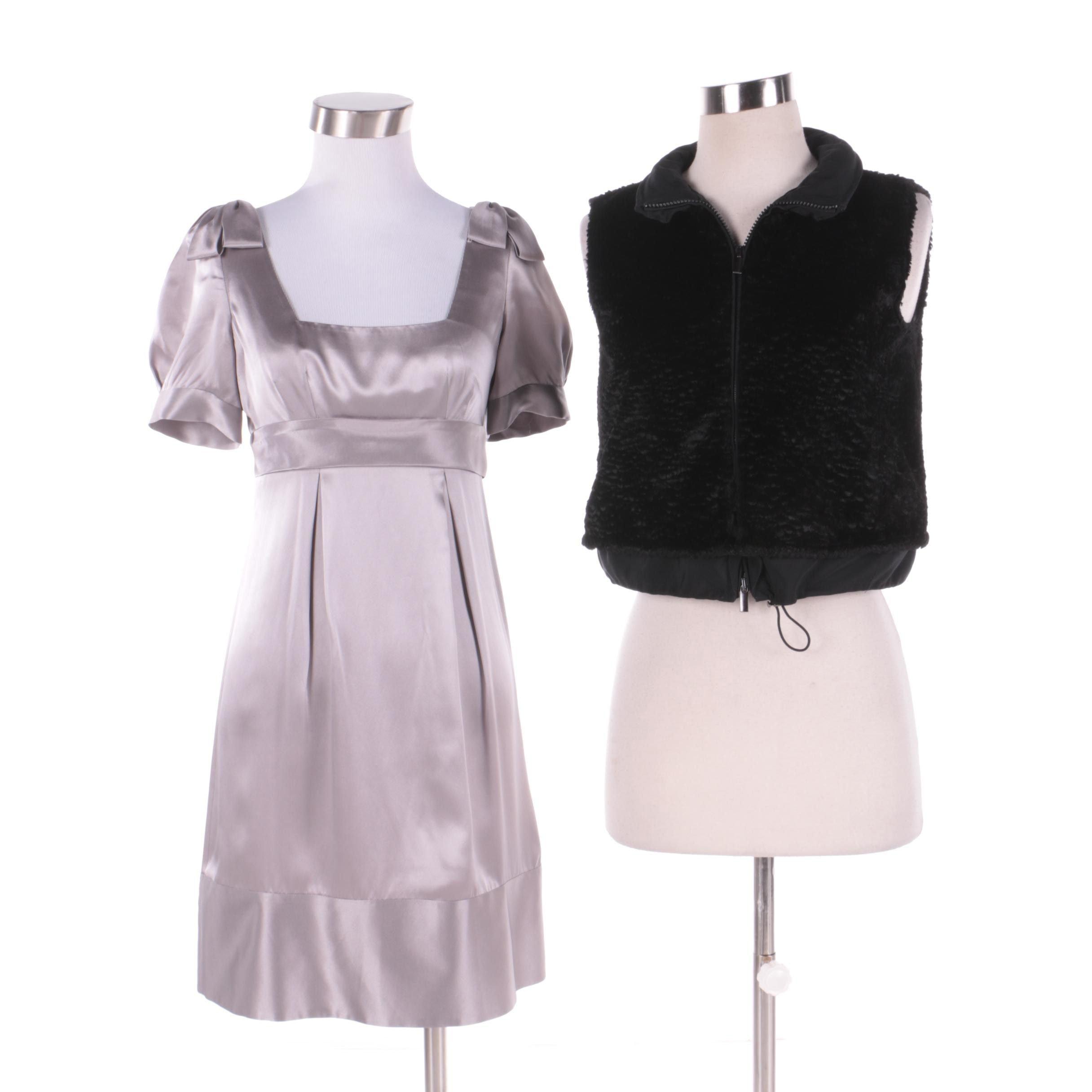 Rebecca Taylor Gray Silk Dress and Giorgio Armani Black Faux Fur Zip-Up Vest