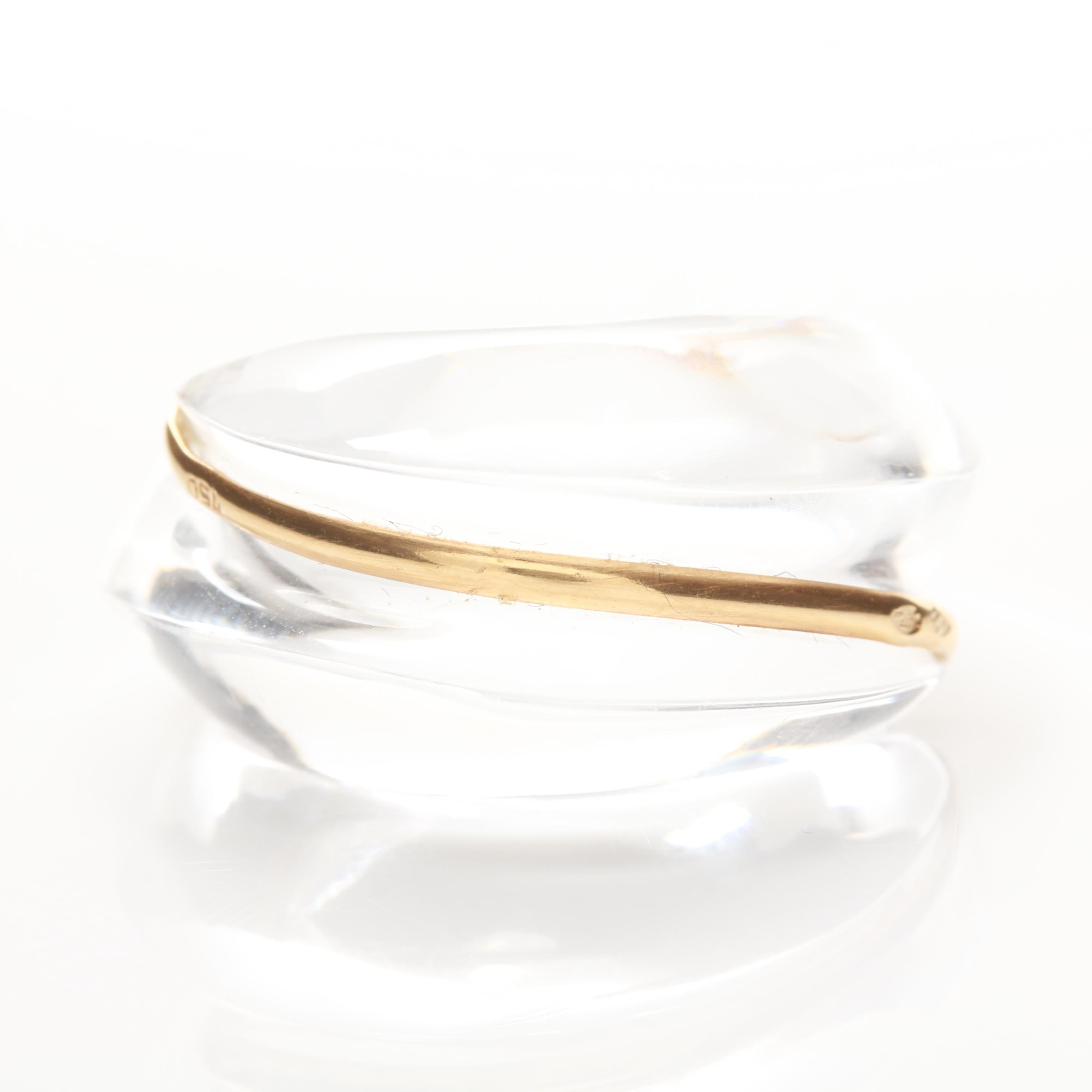 Baccarat 18K Yellow Gold and Glass Ring