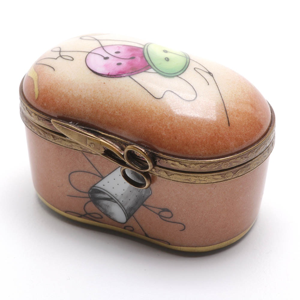 Limoge Sewing Theme Trinket Box