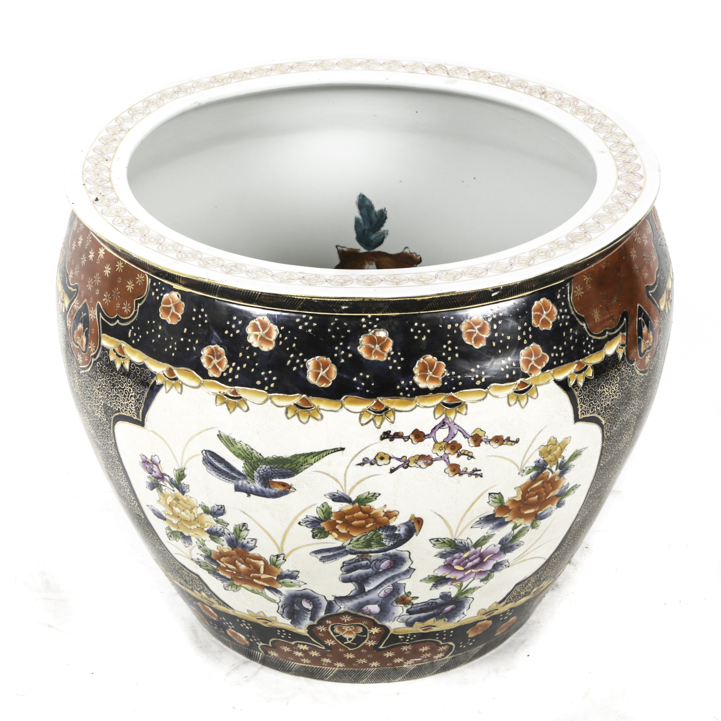 Chinese Hand-Painted Porcelain Koi Fish Bowl Planter