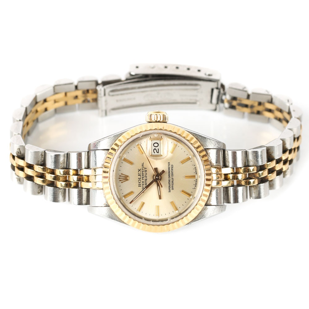 Rolex 18K Yellow Gold and Stainless Steel Oyster Perpetual Datejust Wristwatch