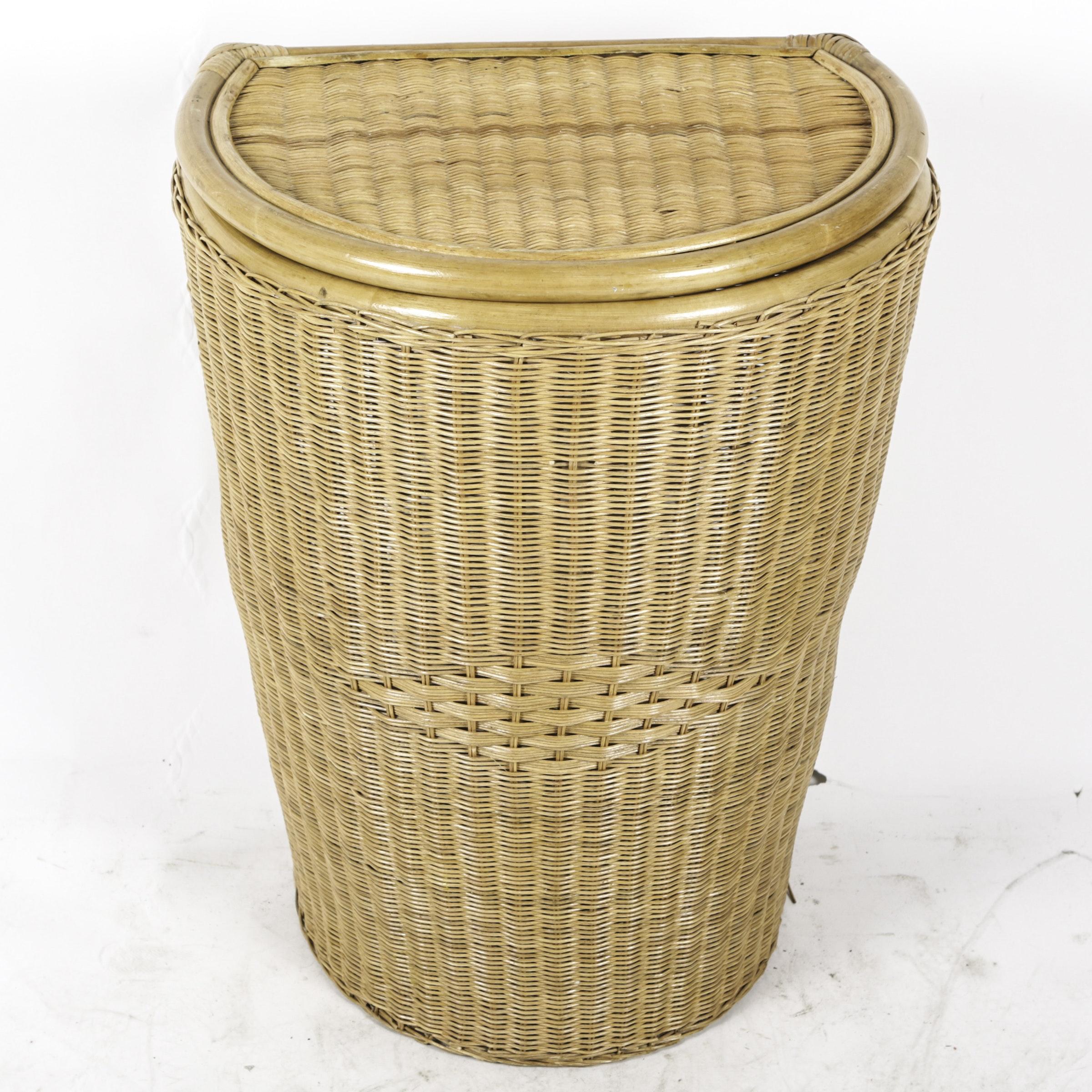 Vintage Lidded Woven Laundry Basket