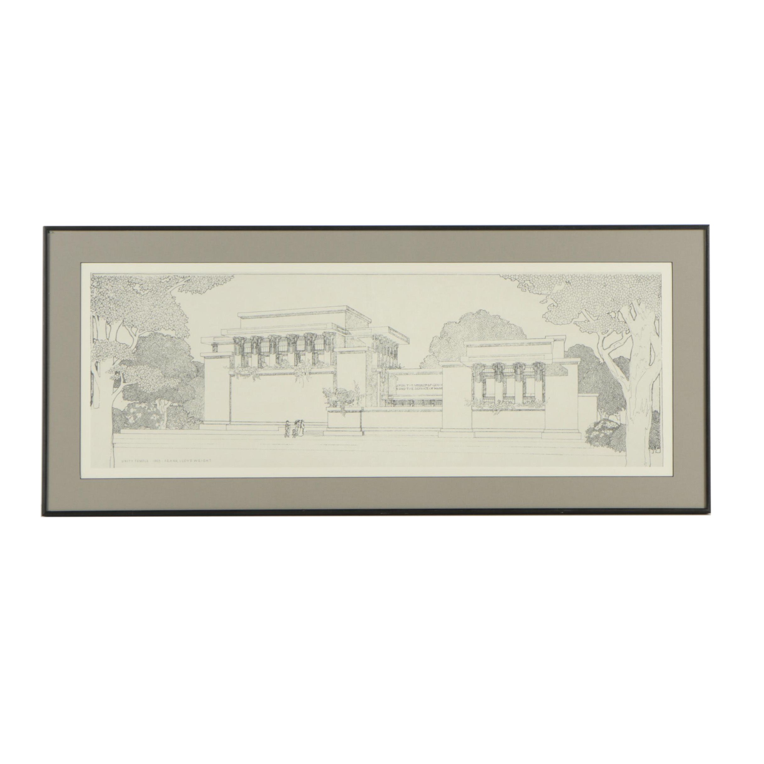 Offset Lithographic Reproduction Print of Unity Temple After Frank Lloyd Wright