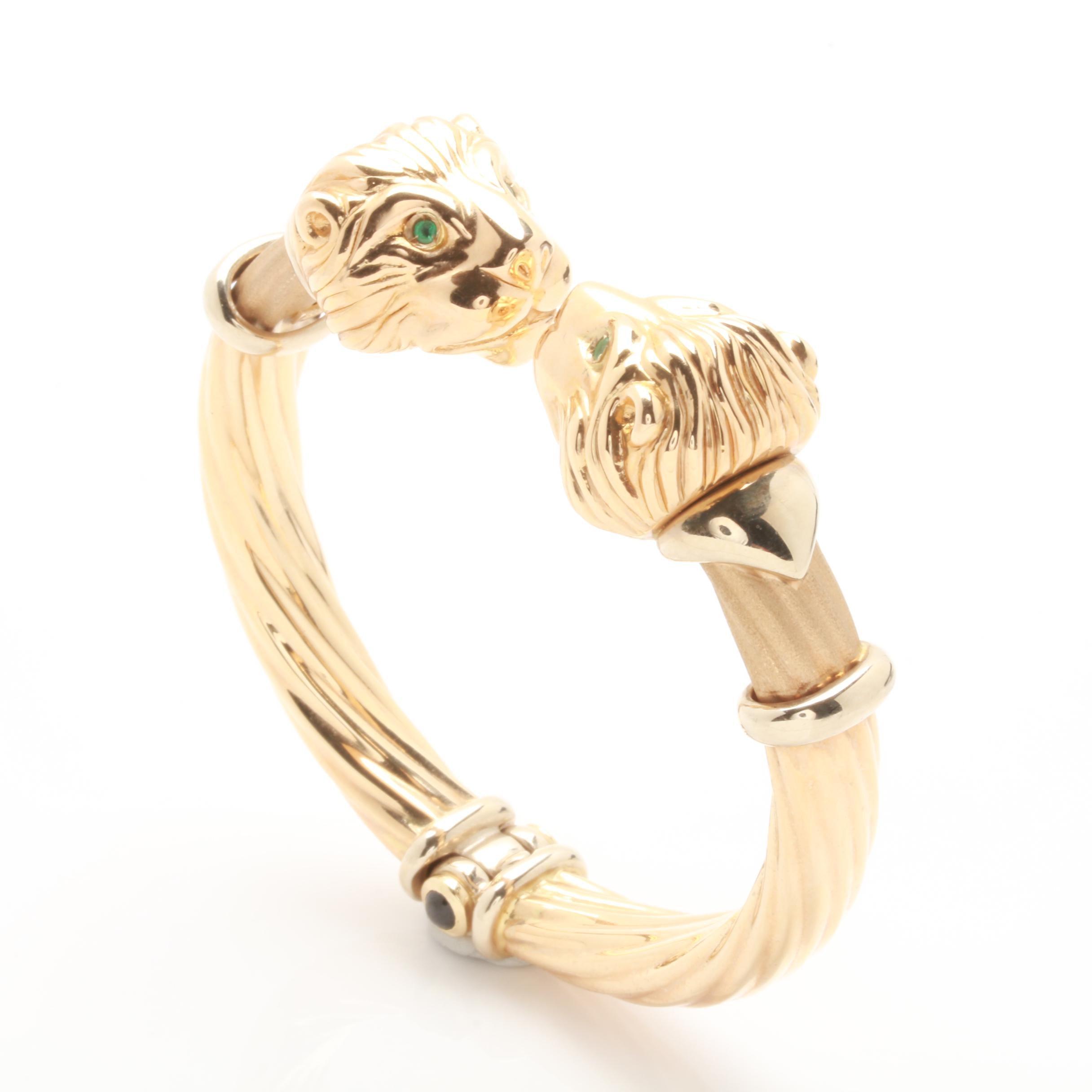 14K Yellow Gold Black Onyx and Emerald Lion's Head Cuff