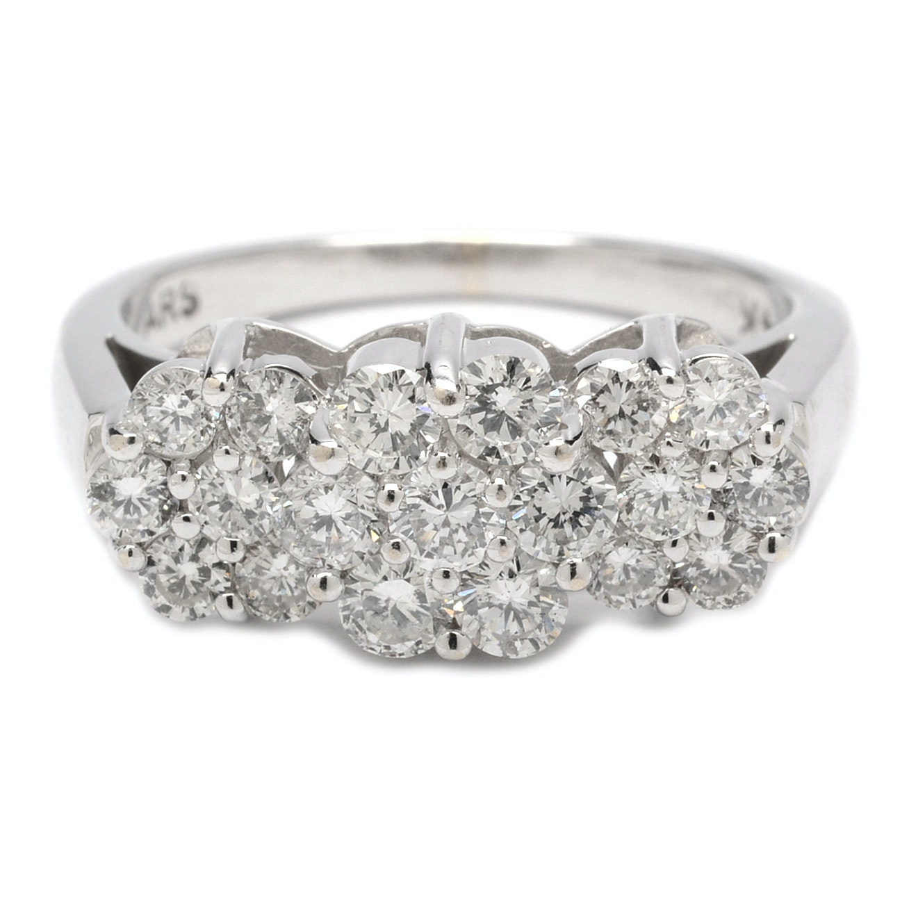 14K White Gold 1.04 CTW Diamond Stylized Flower Ring