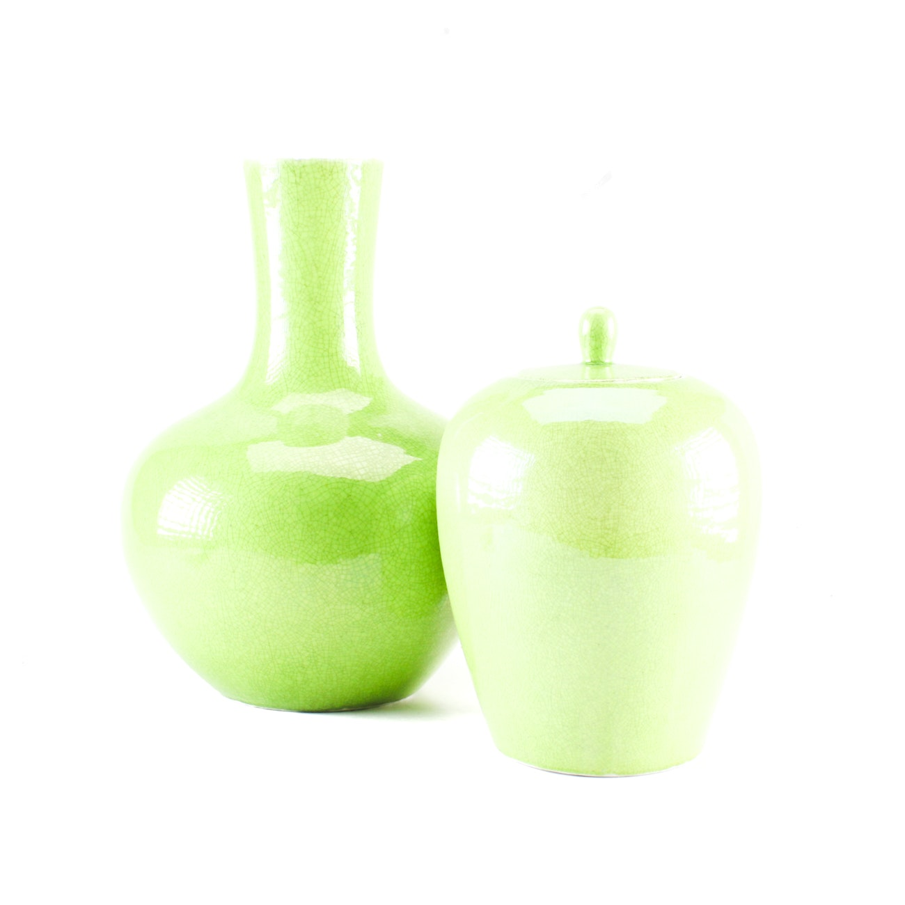 Chinese Ceramic Vase and Ginger Jar with Lid