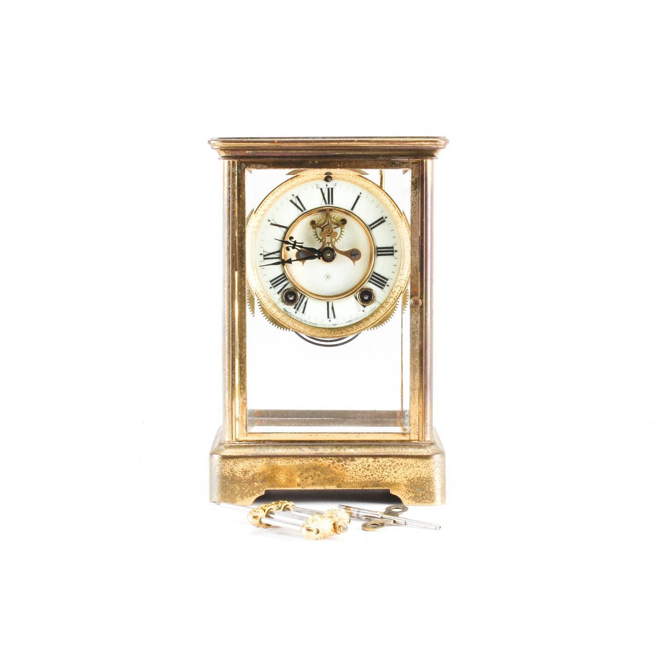 Ansonia Brass Tone Mantel Clock