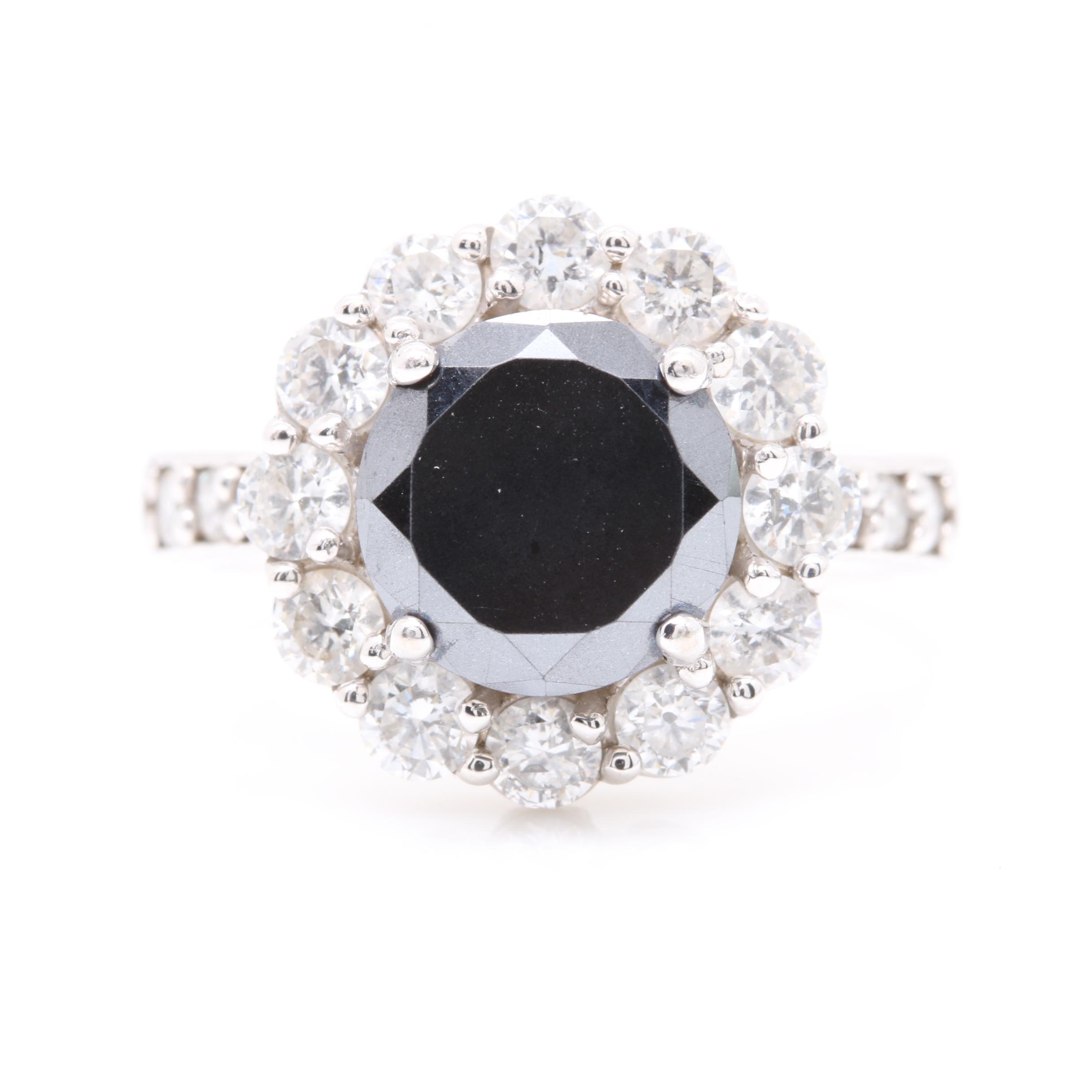 14K White Gold Black Moissanite and Diamond Ring
