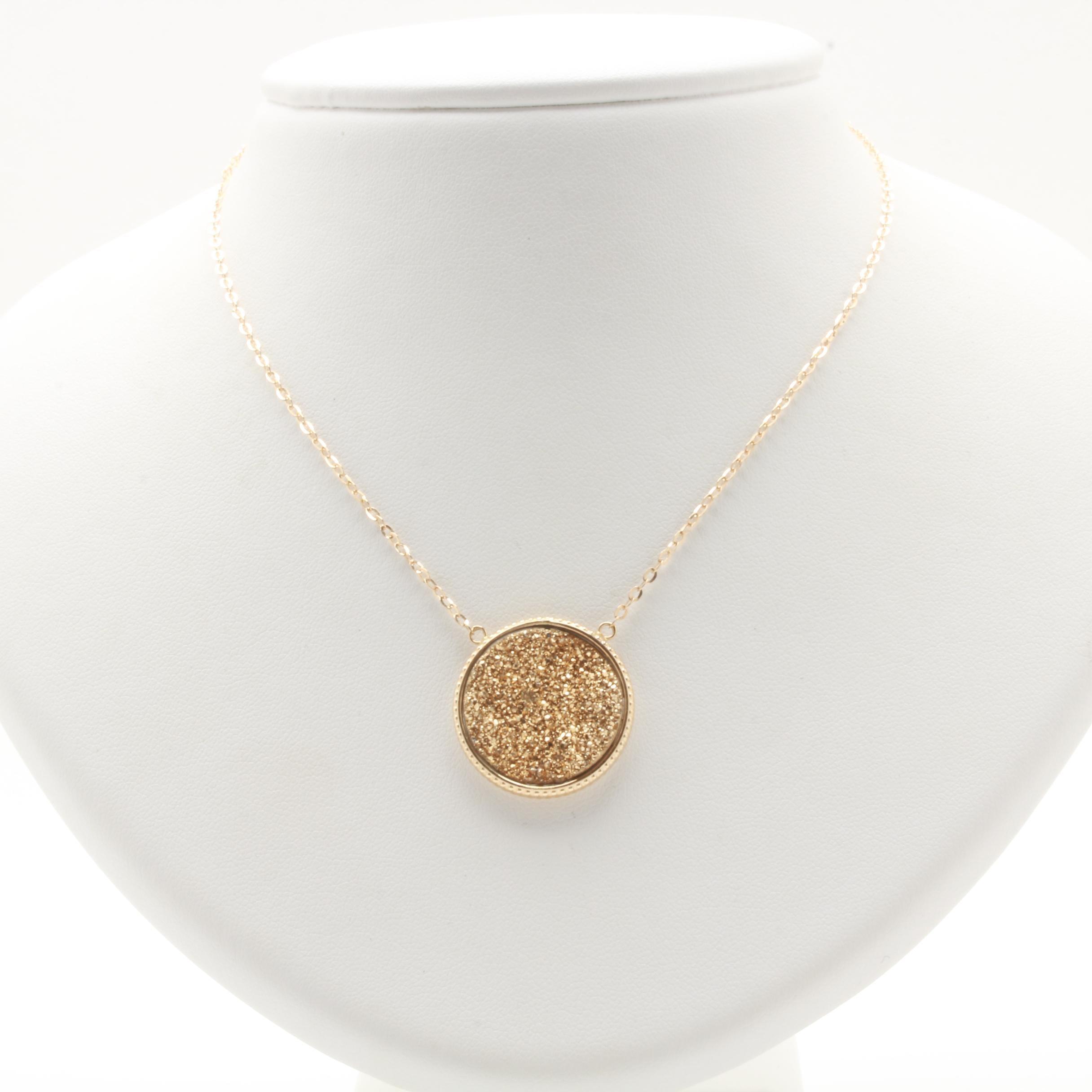 Milor 14K Yellow Gold Druzy Necklace