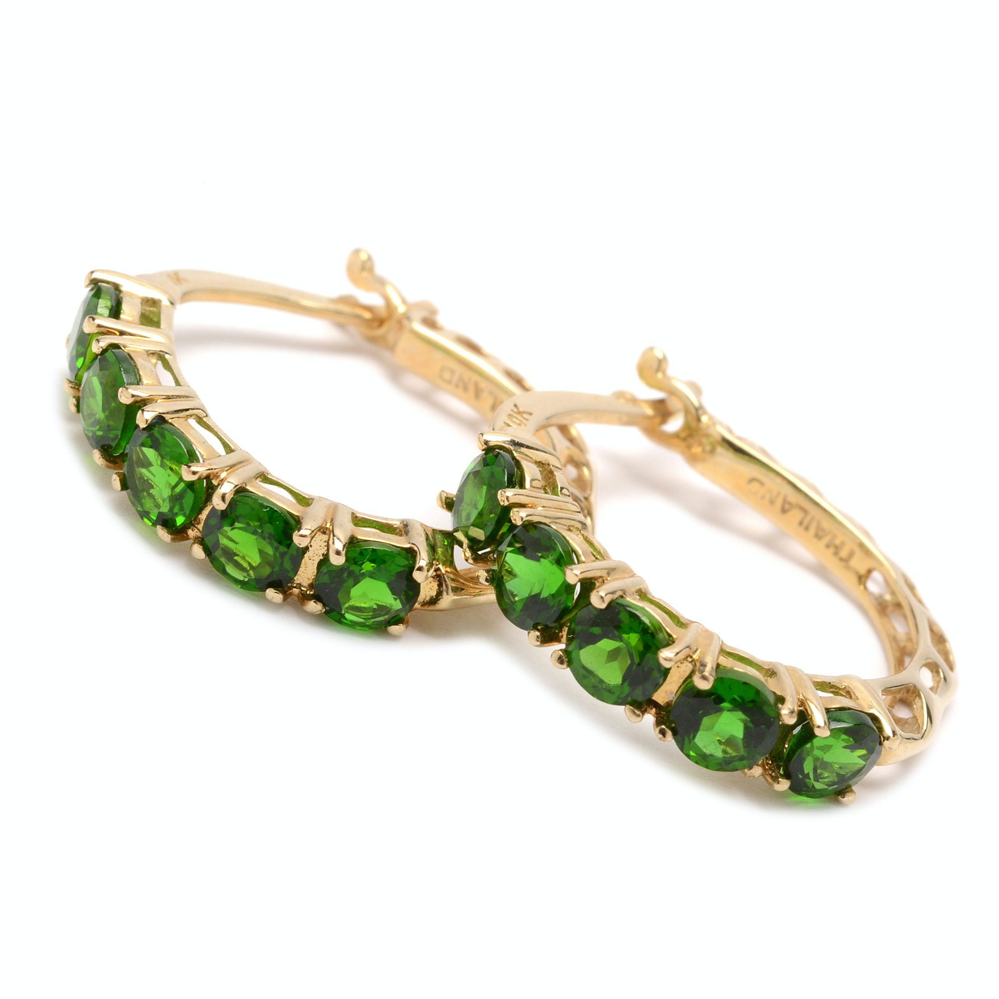 10K Yellow Gold Chrome Diopside Earrings