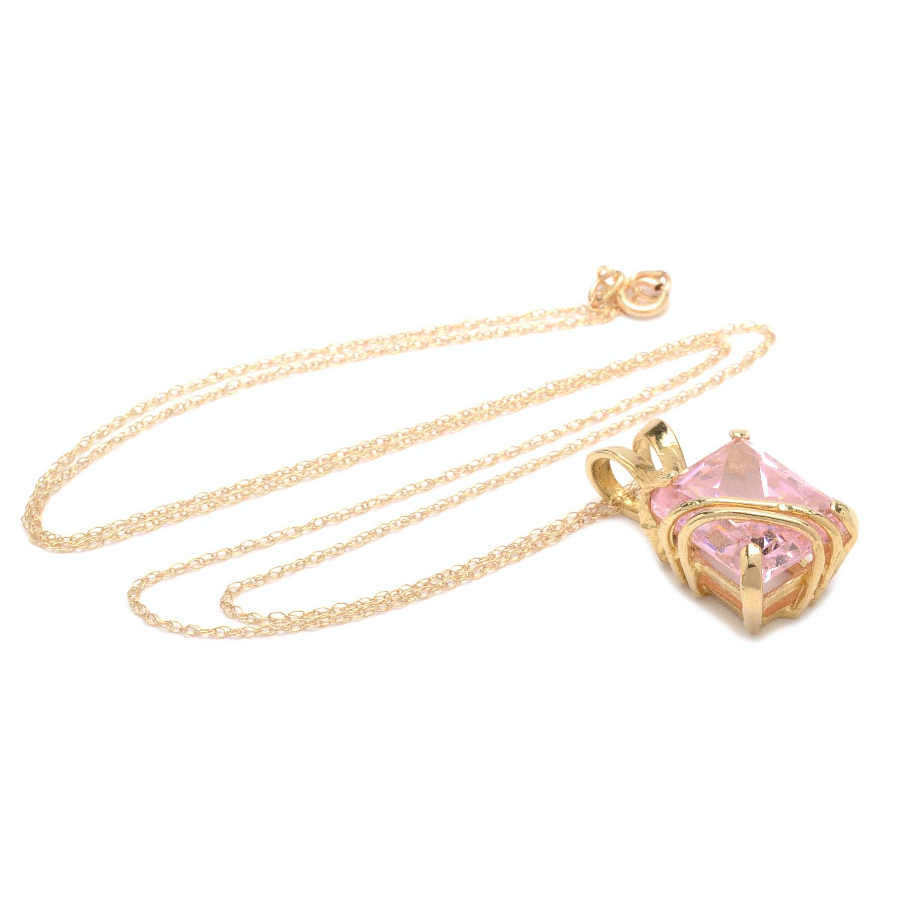 10K 14K Yellow Gold Cubic Zirconia Pendant Necklace