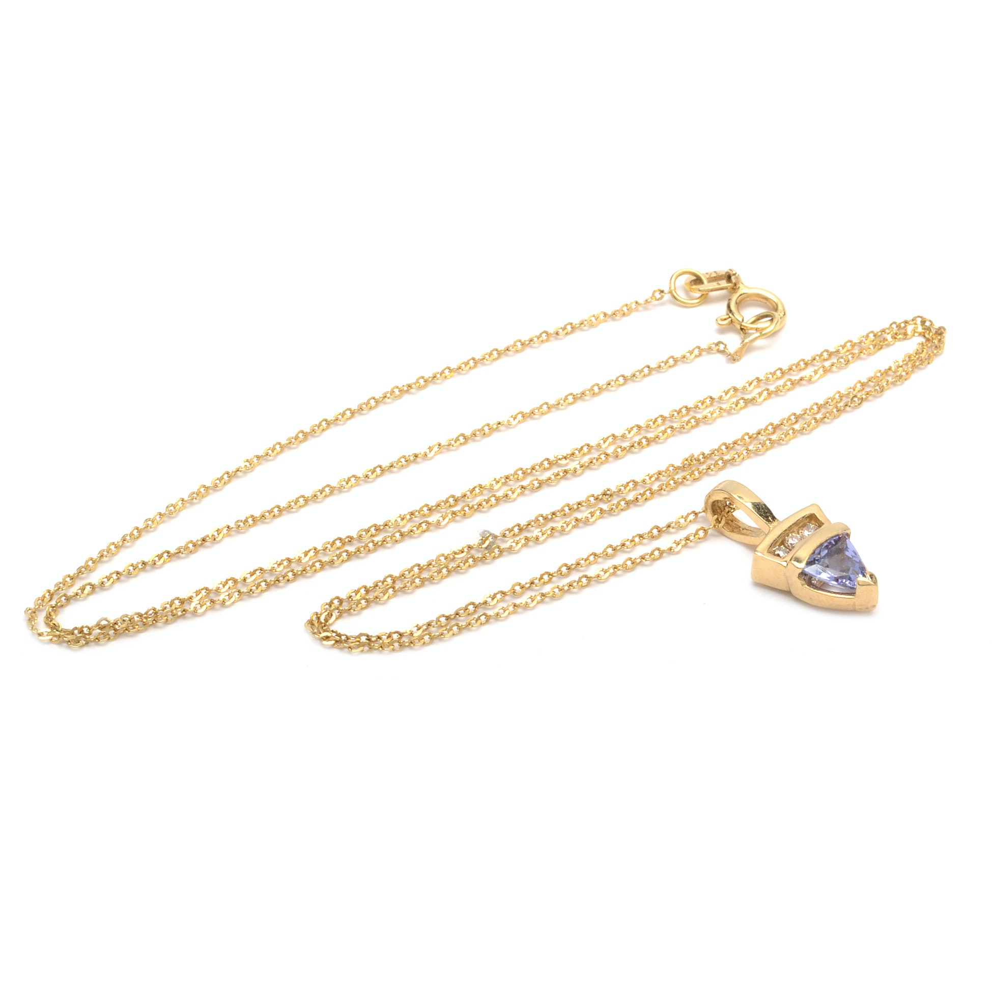 10K/14K Yellow Gold Tanzanite and Diamond Pendant Necklace