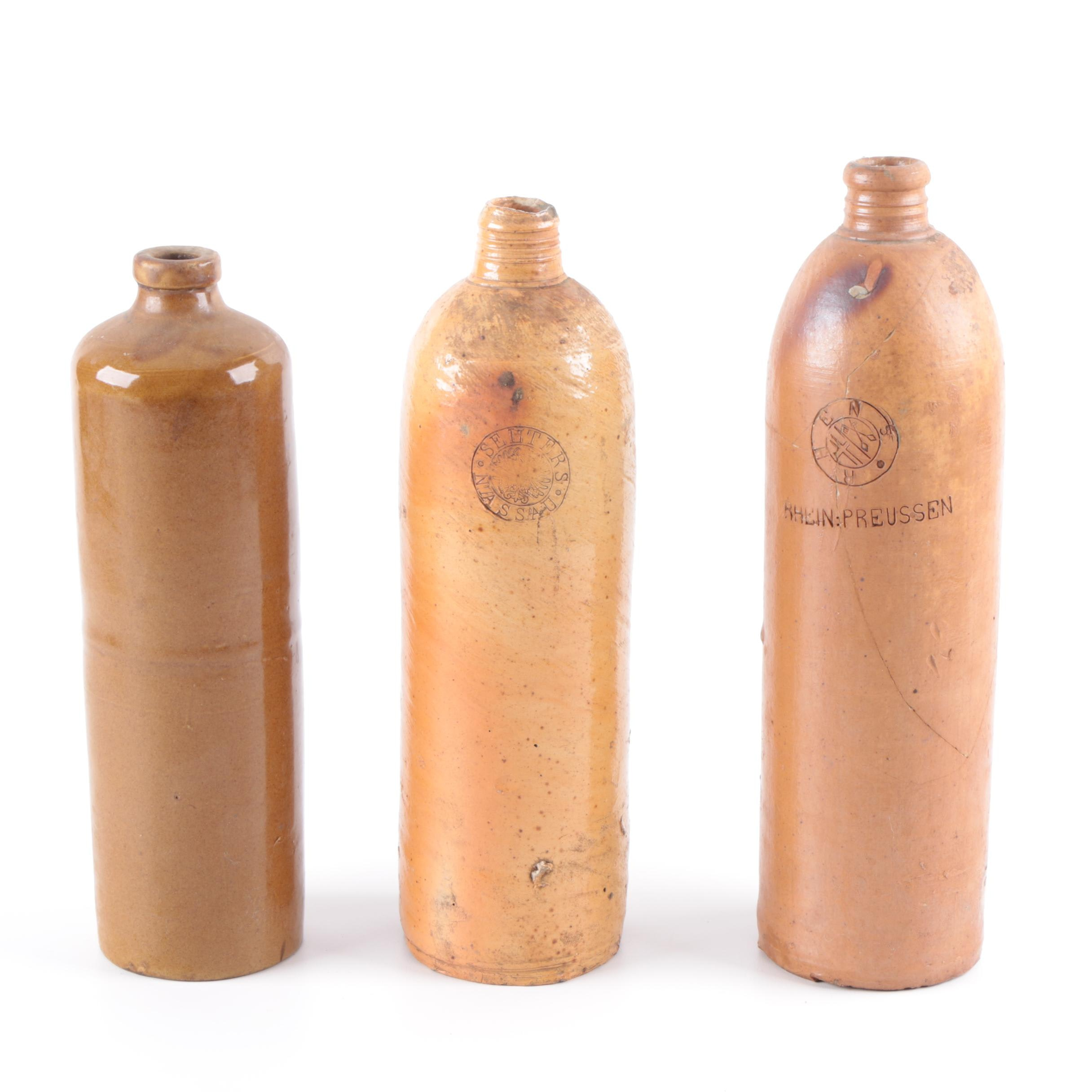 Antique German Clay Whiskey Bottles