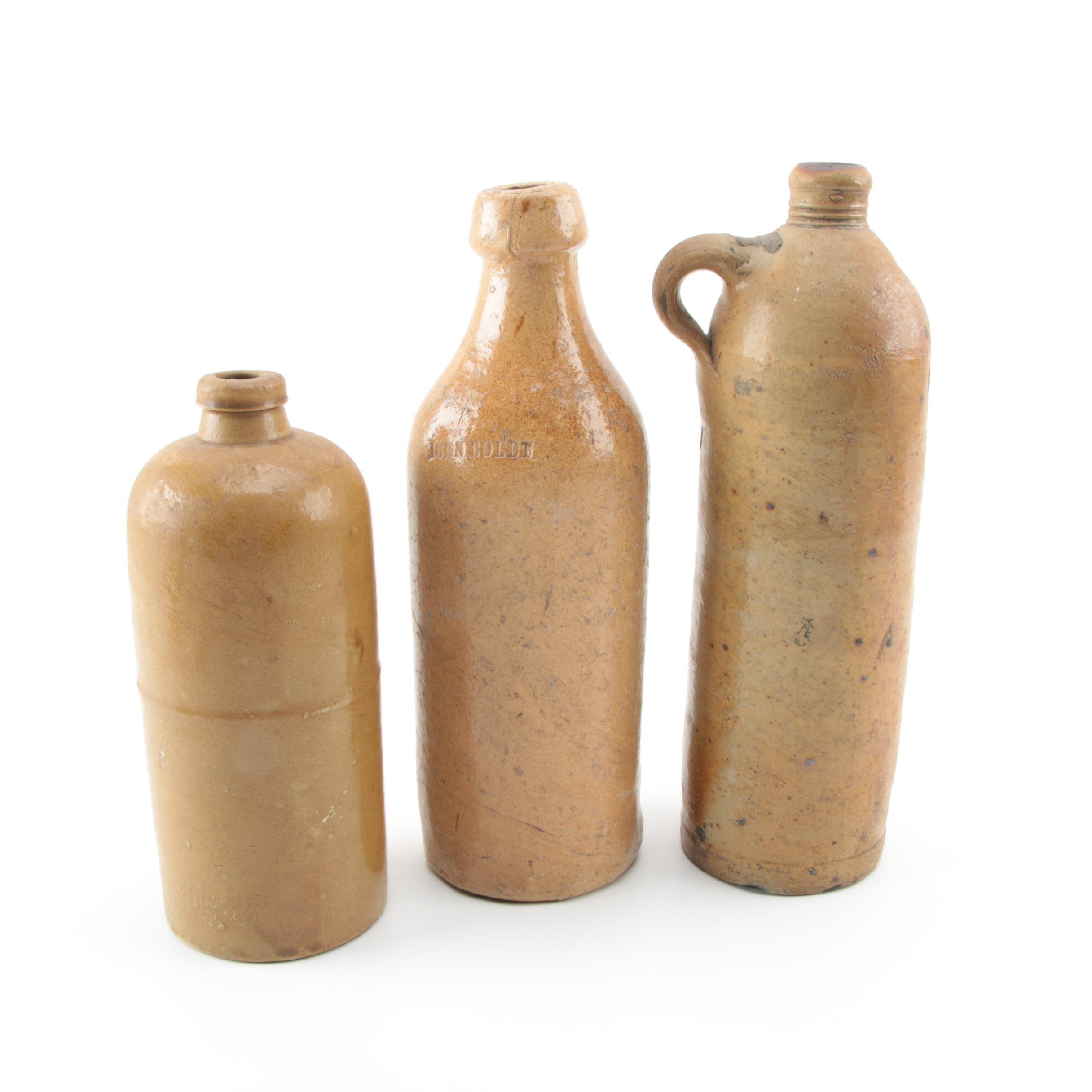 John Boldt and Other Antique Stoneware Whiskey Bottles