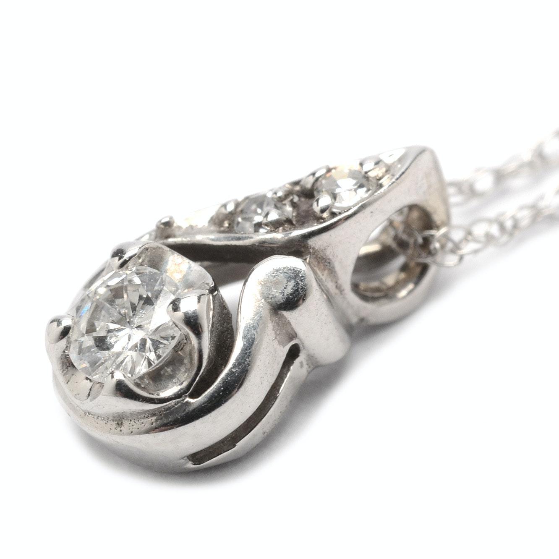 14K White Gold Diamond Pendant Necklace