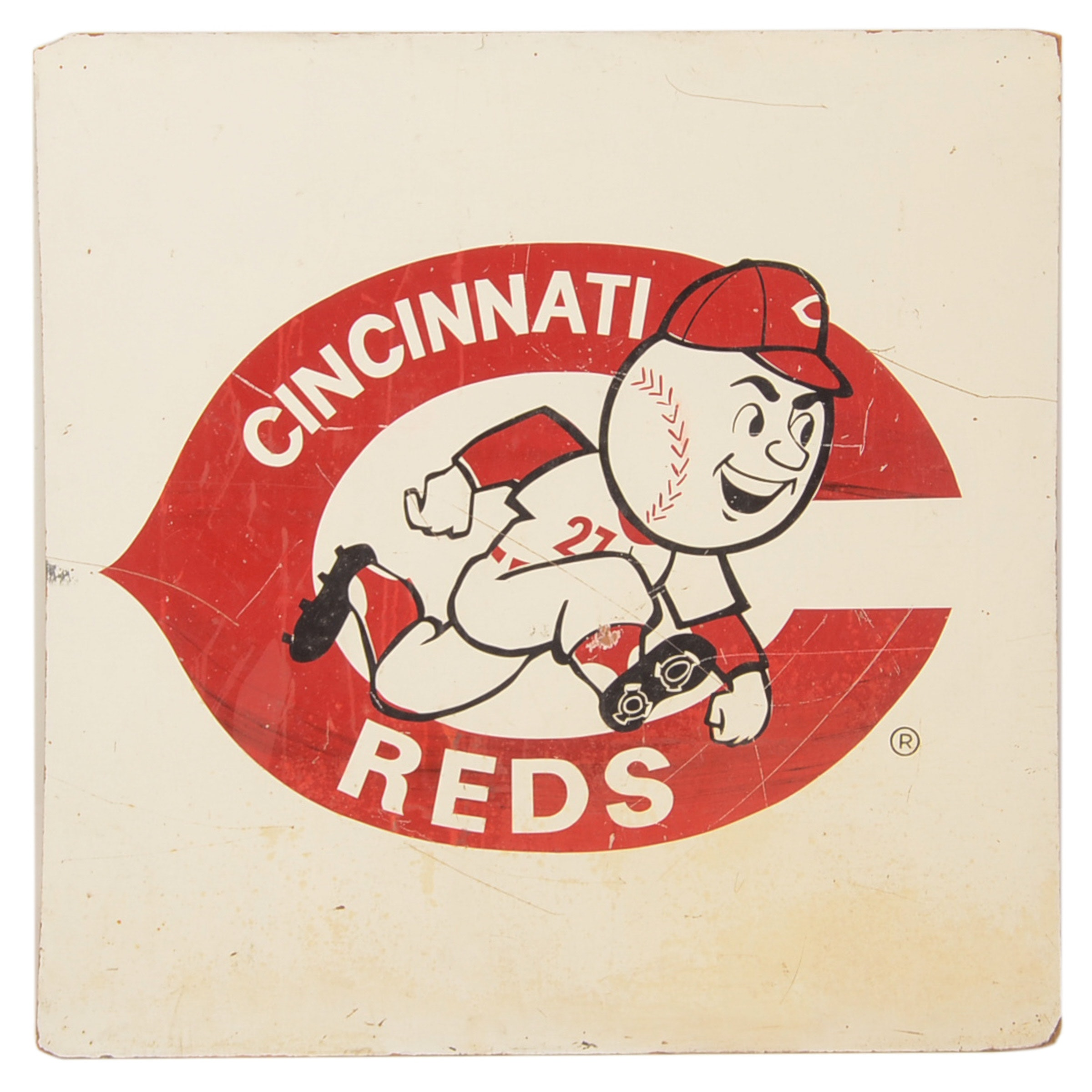 "Large 1970s ""Mr. Redlegs"" Team Mascot Baseball Sign"