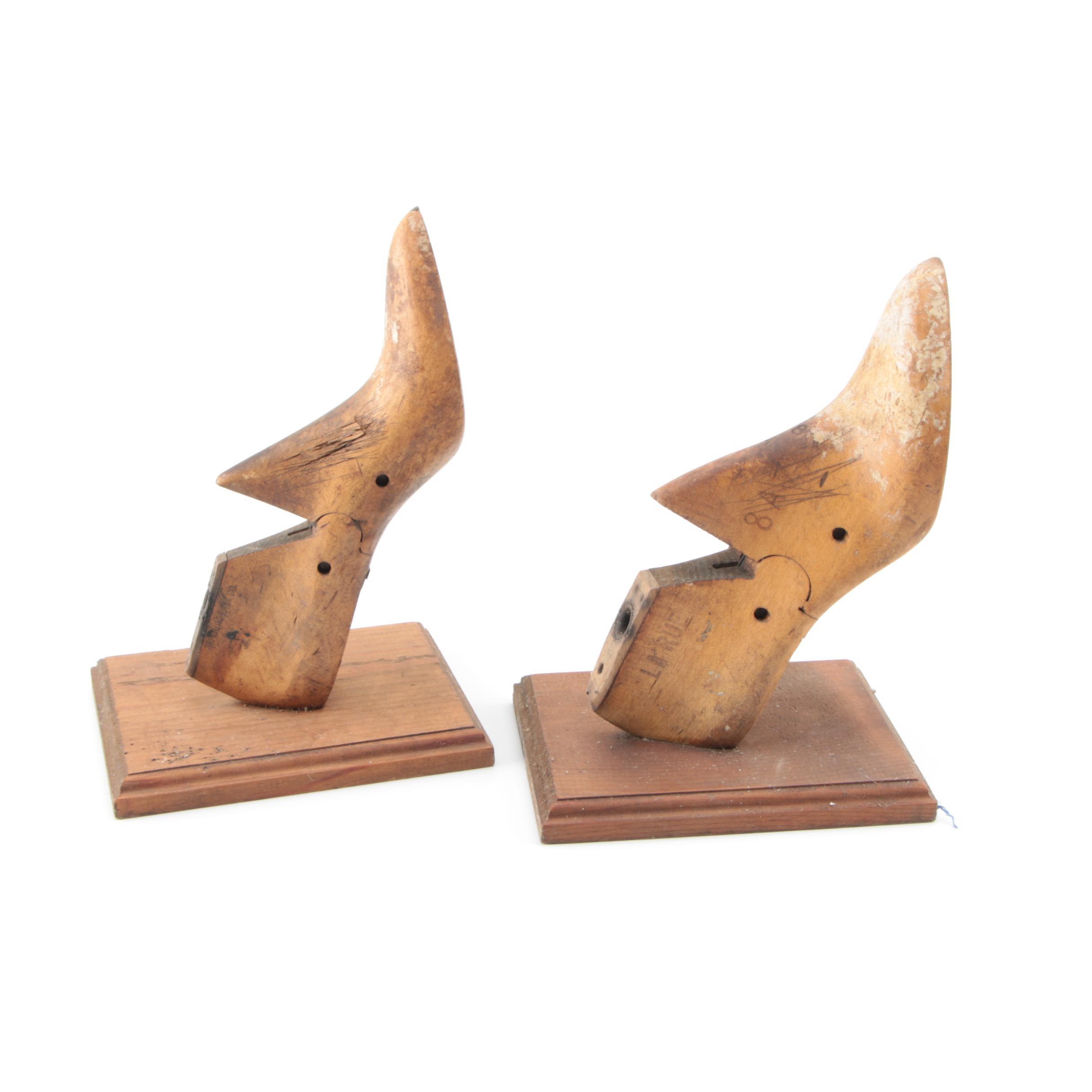 Vintage Wooden Shoe Form Bookends