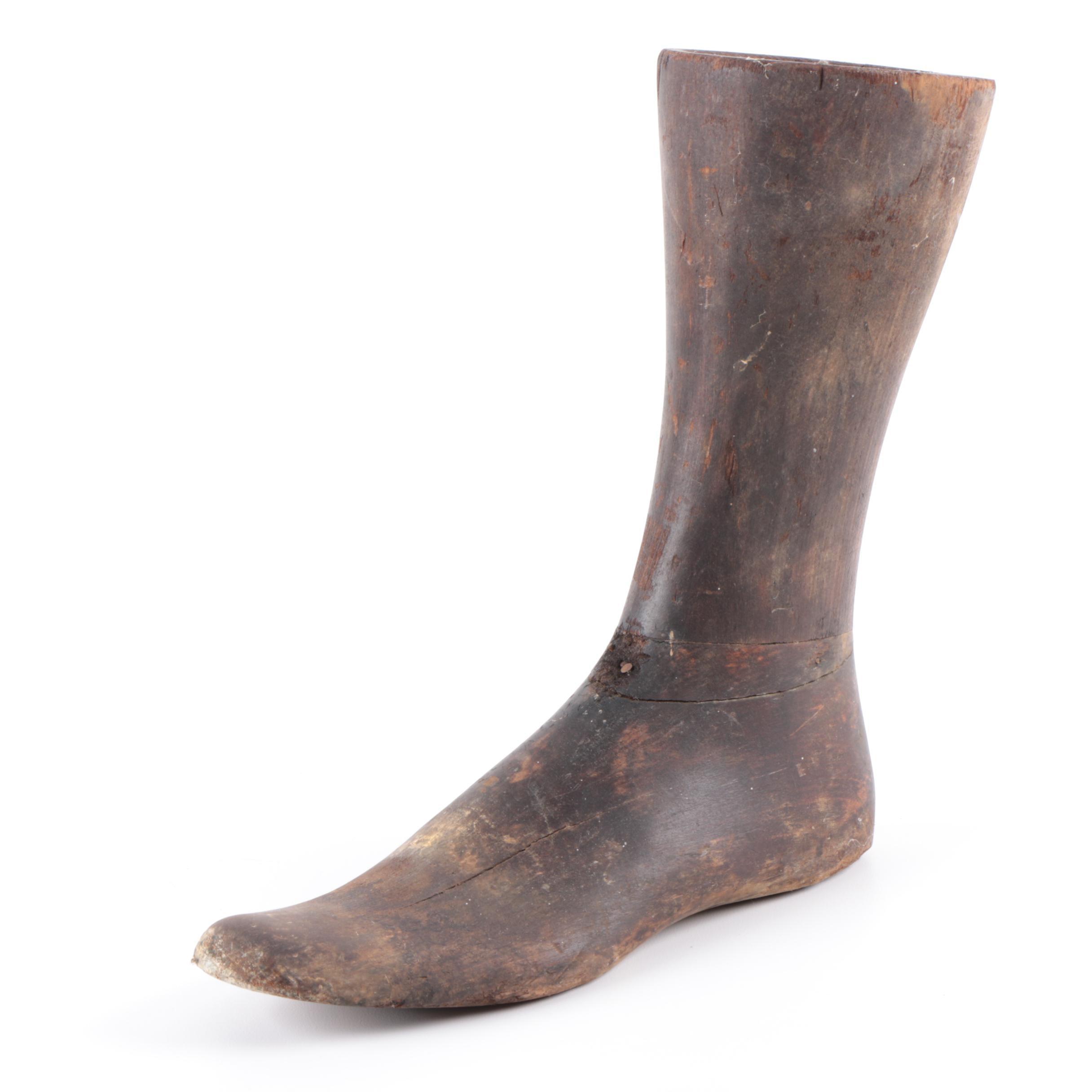 Vintage Wooden Boot Form