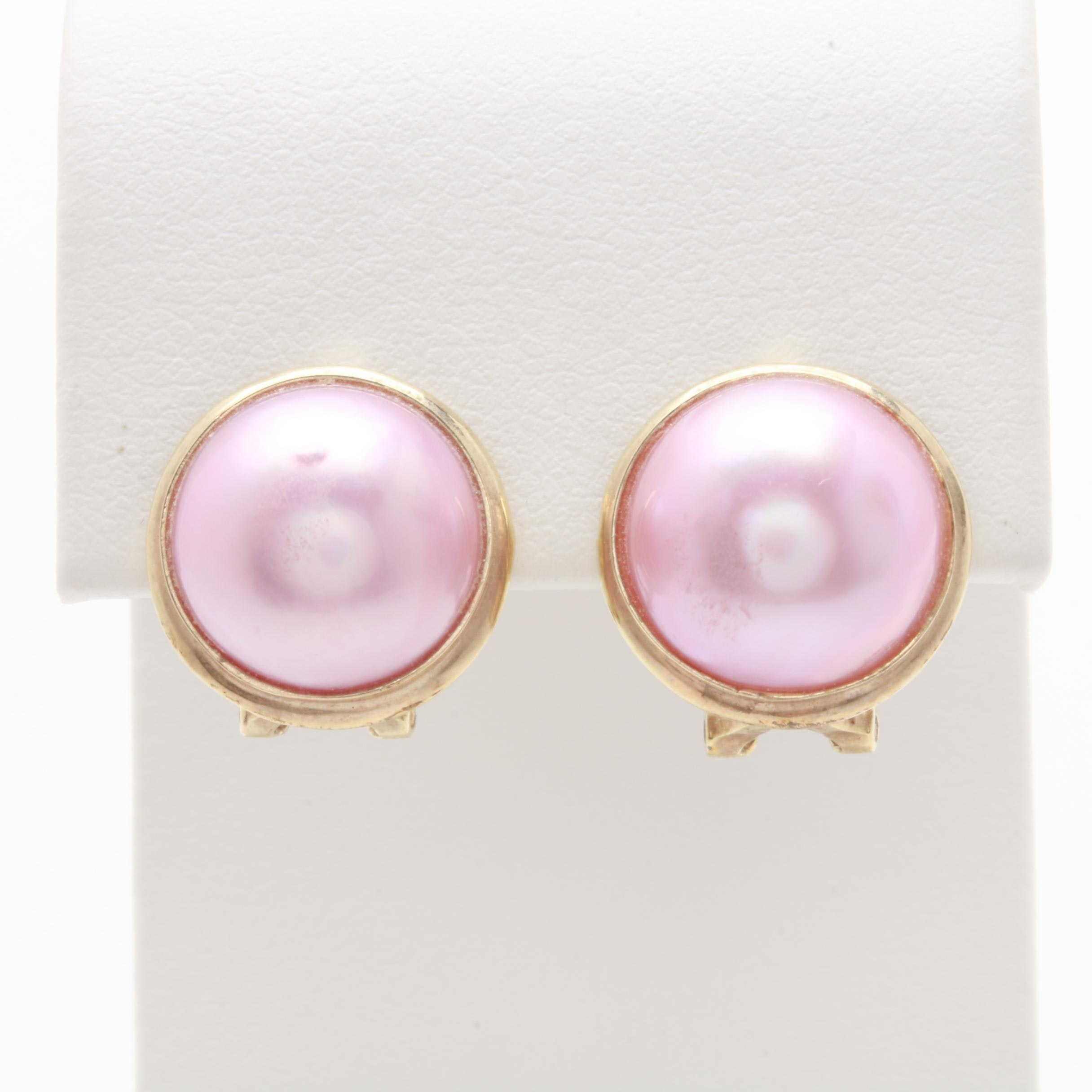 14K Yellow Gold Mabé Cultured Pearl Earrings